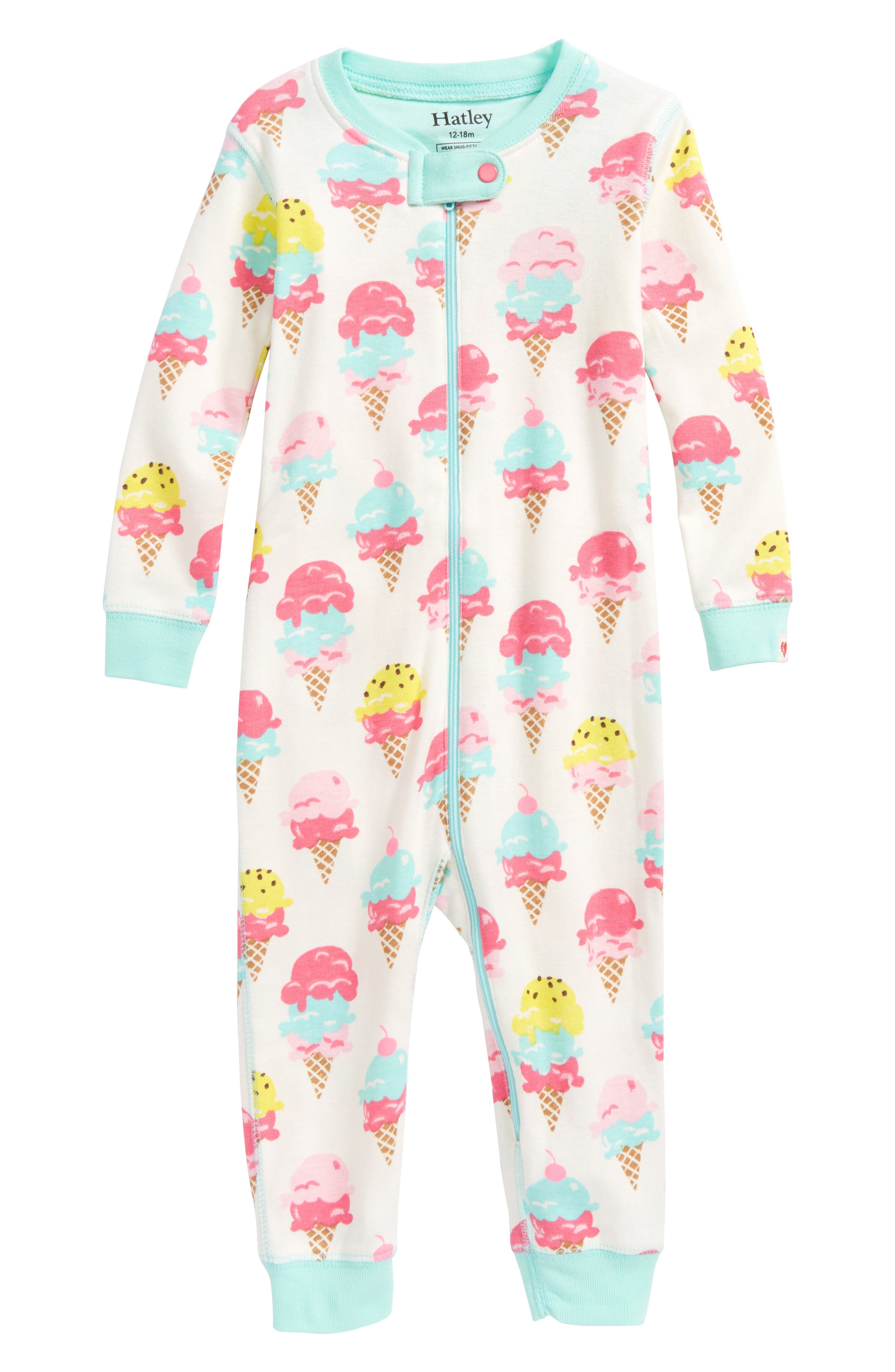 Hatley Ice Cream Treats Organic Cotton Fitted One-Piece Pajamas (Baby Girls)