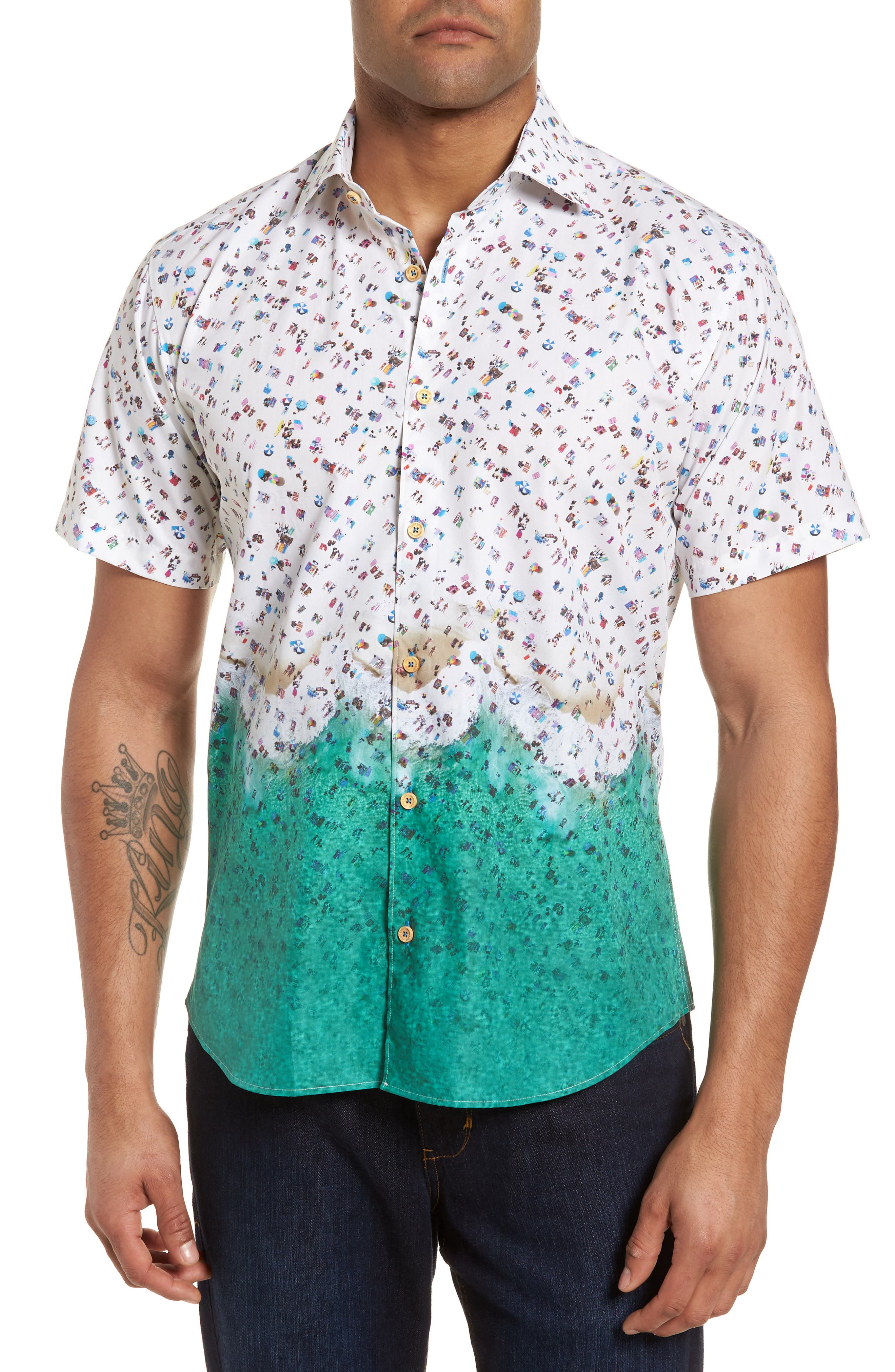 Slim Fit Beach Sport Shirt,                         Main,                         color, White