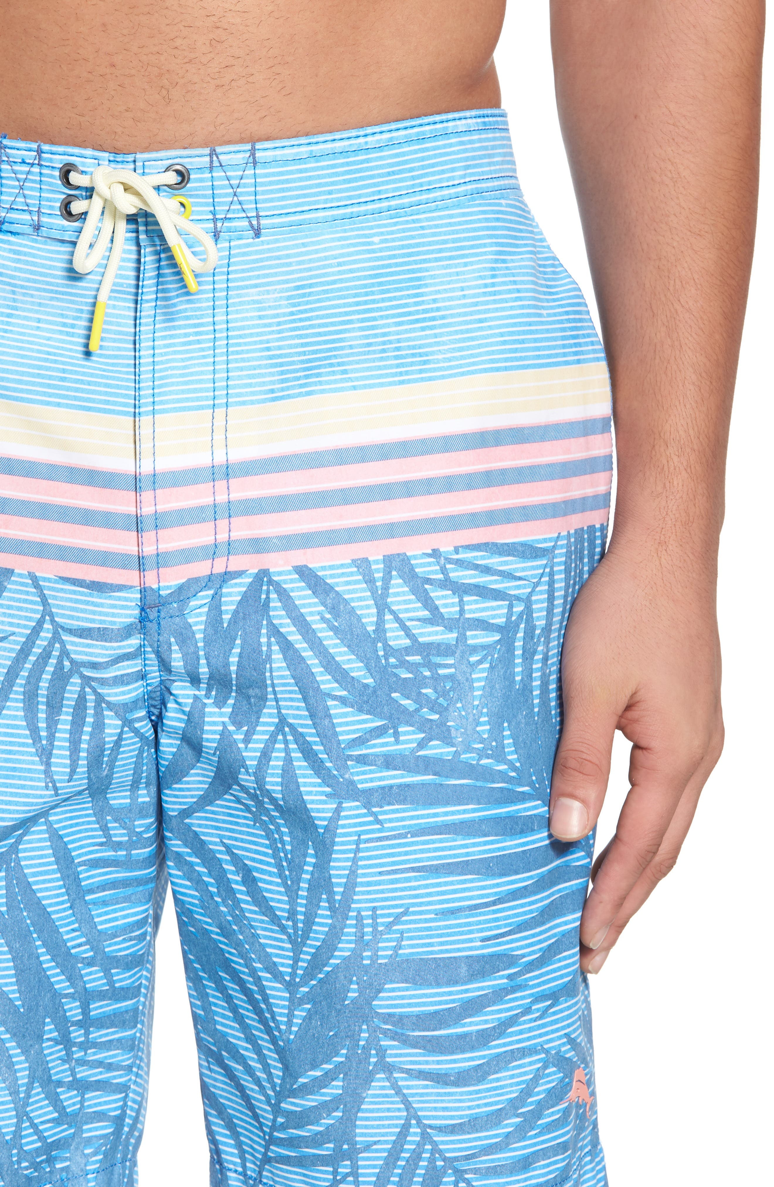 Baja Fronds & Stripes Board Shorts,                             Alternate thumbnail 4, color,                             Dockside Blue