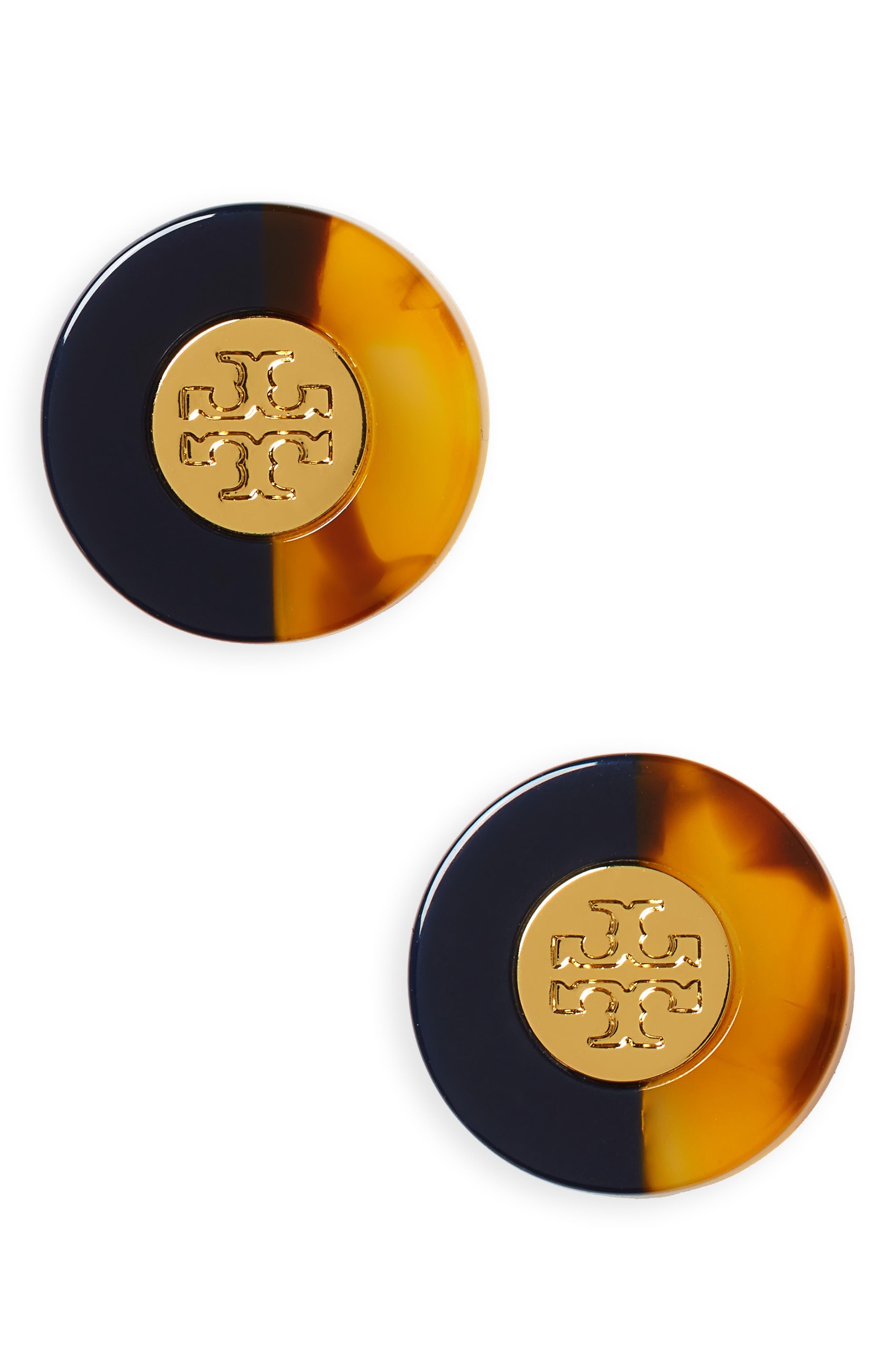 Tory Burch Logo Colorblock Stud Earrings