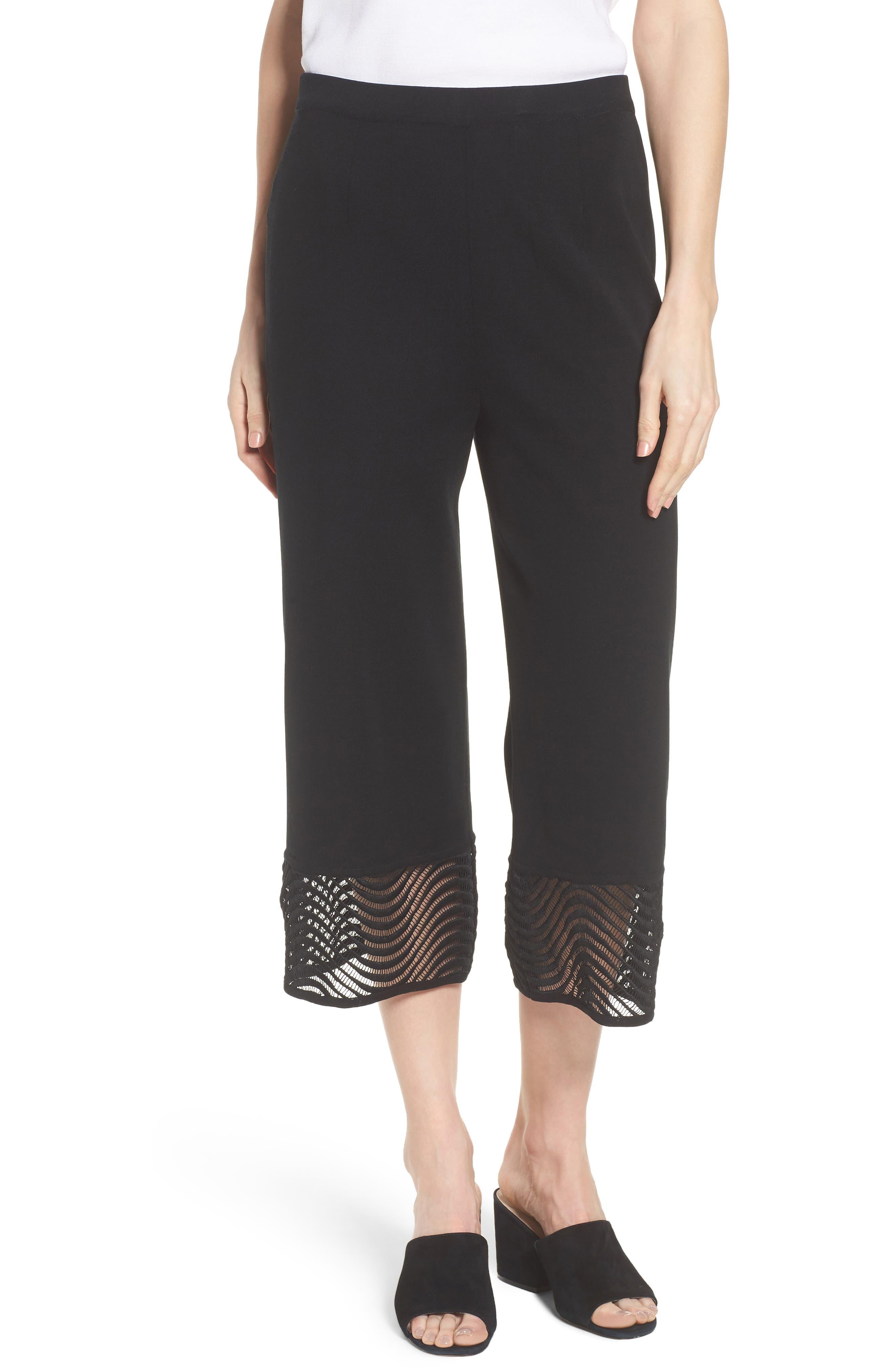 Crop Knit Pants,                             Main thumbnail 1, color,                             Black