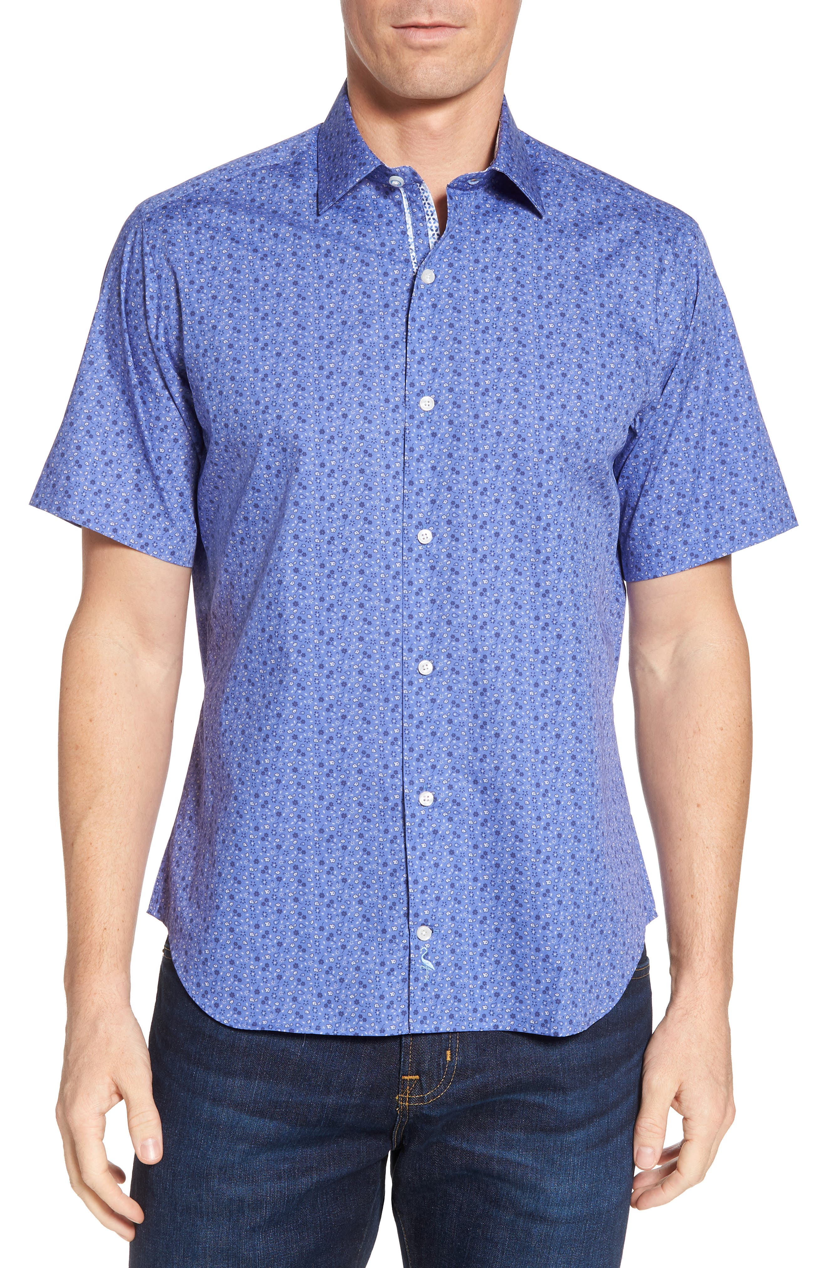 Ballou Regular Fit Floral Print Sport Shirt,                         Main,                         color, Royal