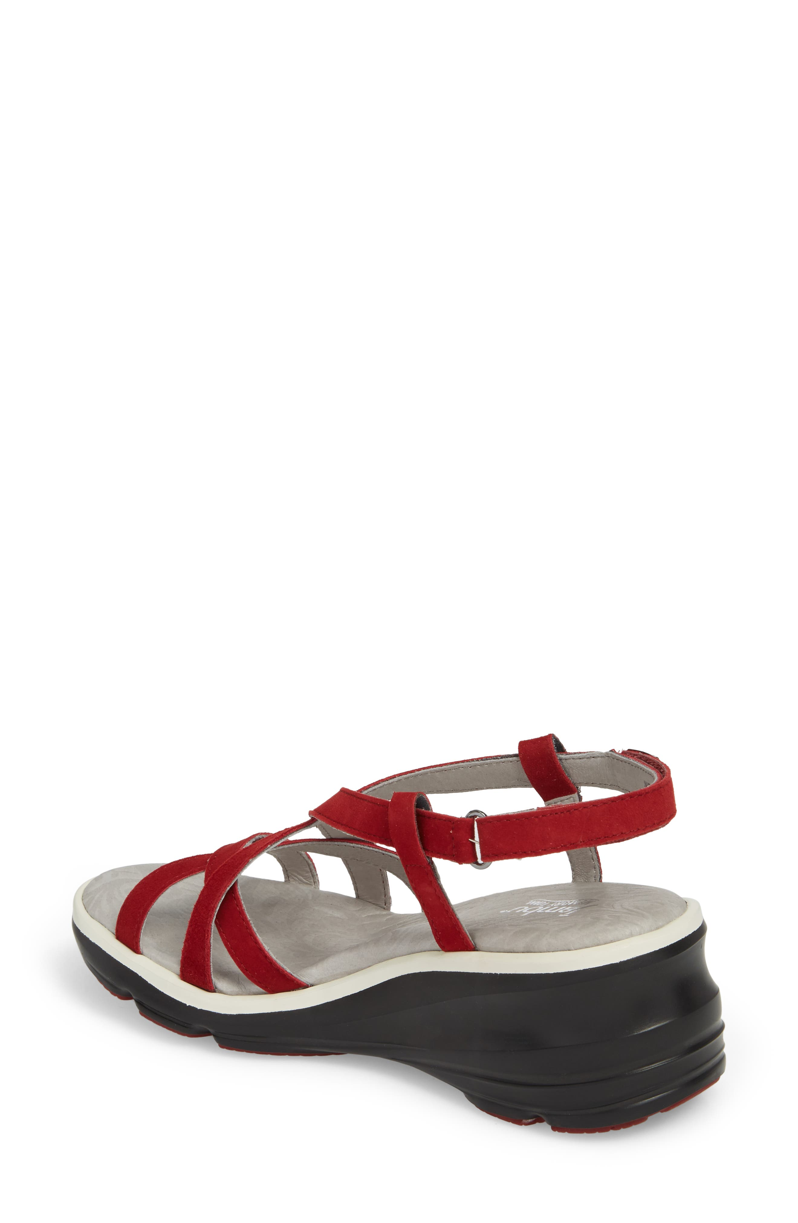 Ginger Wedge Sandal,                             Alternate thumbnail 2, color,                             Red Suede