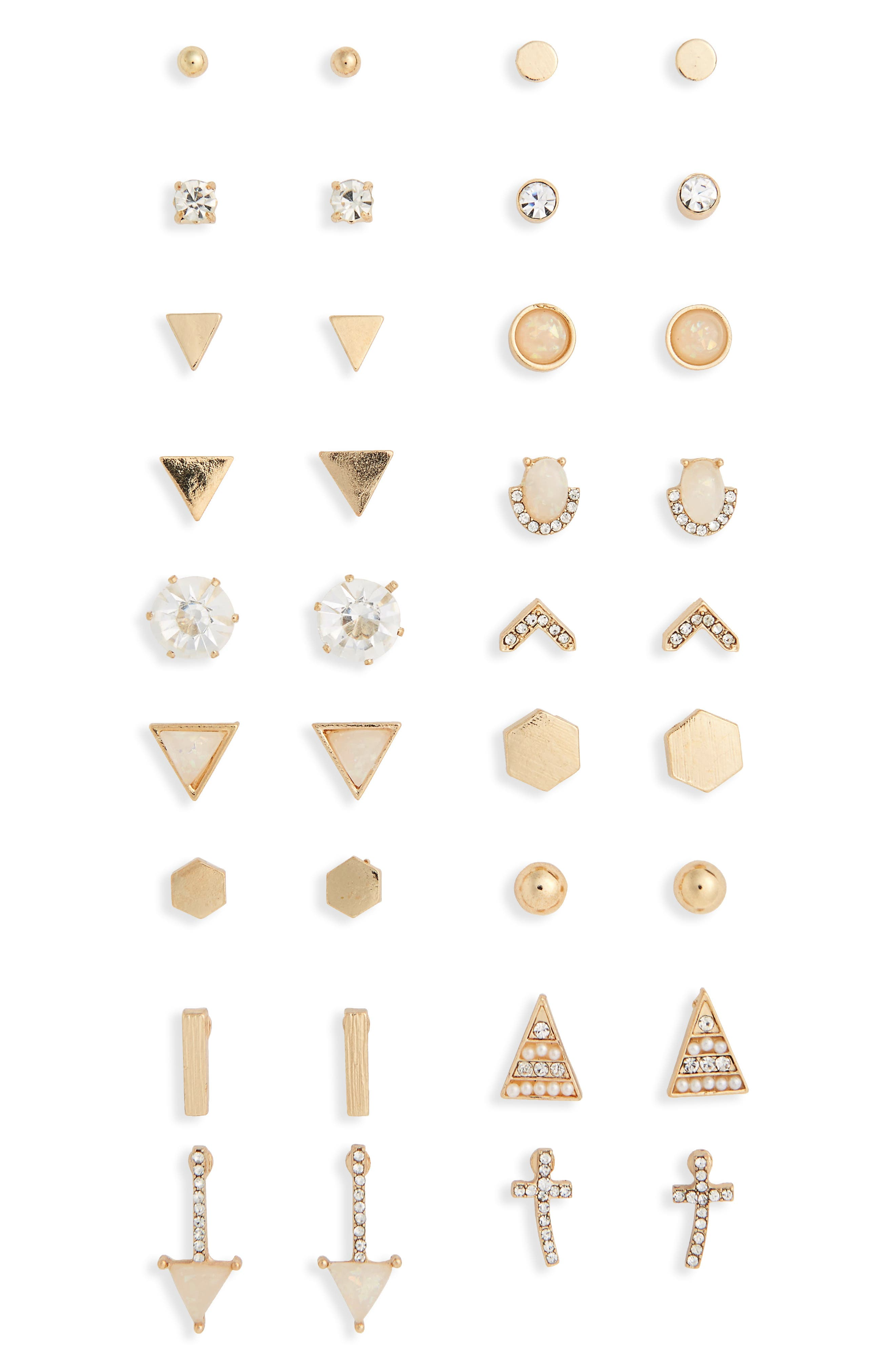 18-Pack Stud Earrings,                             Main thumbnail 1, color,                             Iridescent Crystal