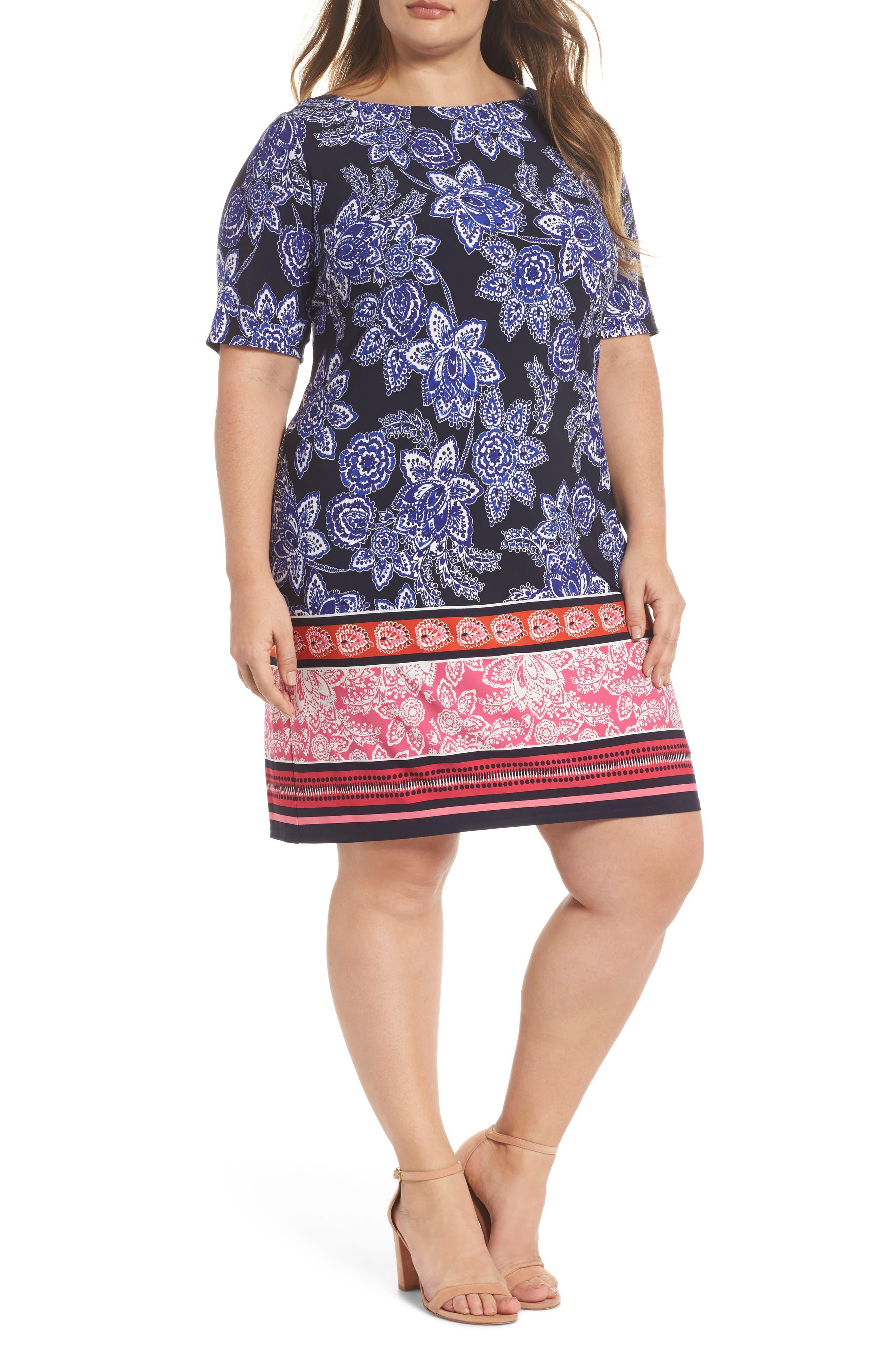 Print Shift Dress,                         Main,                         color, Navy/ Pink/ Orange