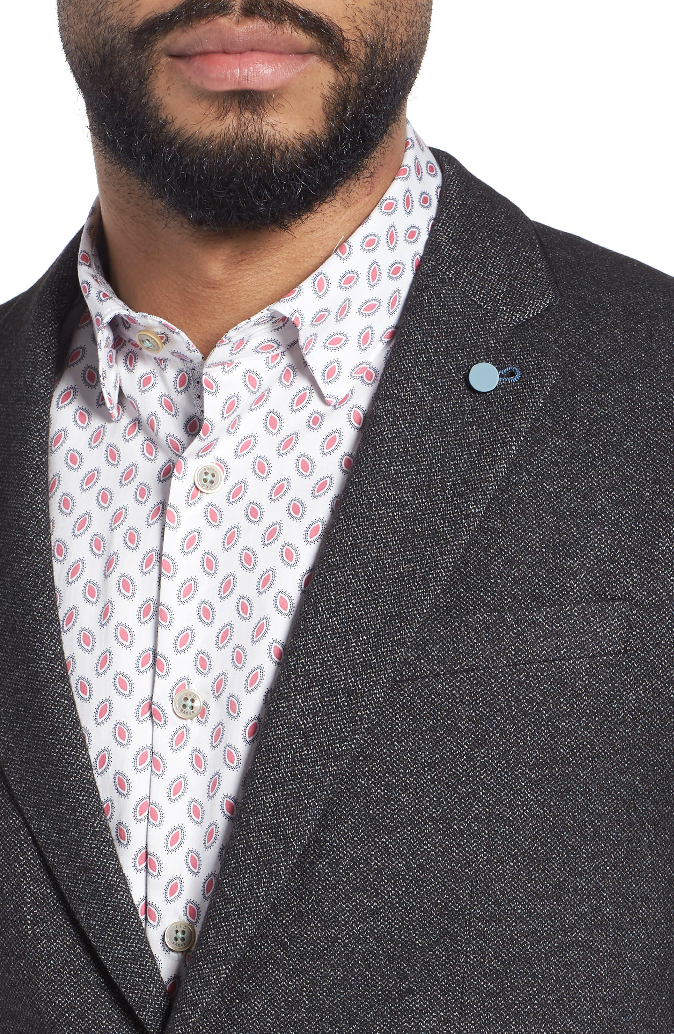 Beektt Semi Plain Trim Fit Jacket,                             Alternate thumbnail 4, color,                             Charcoal