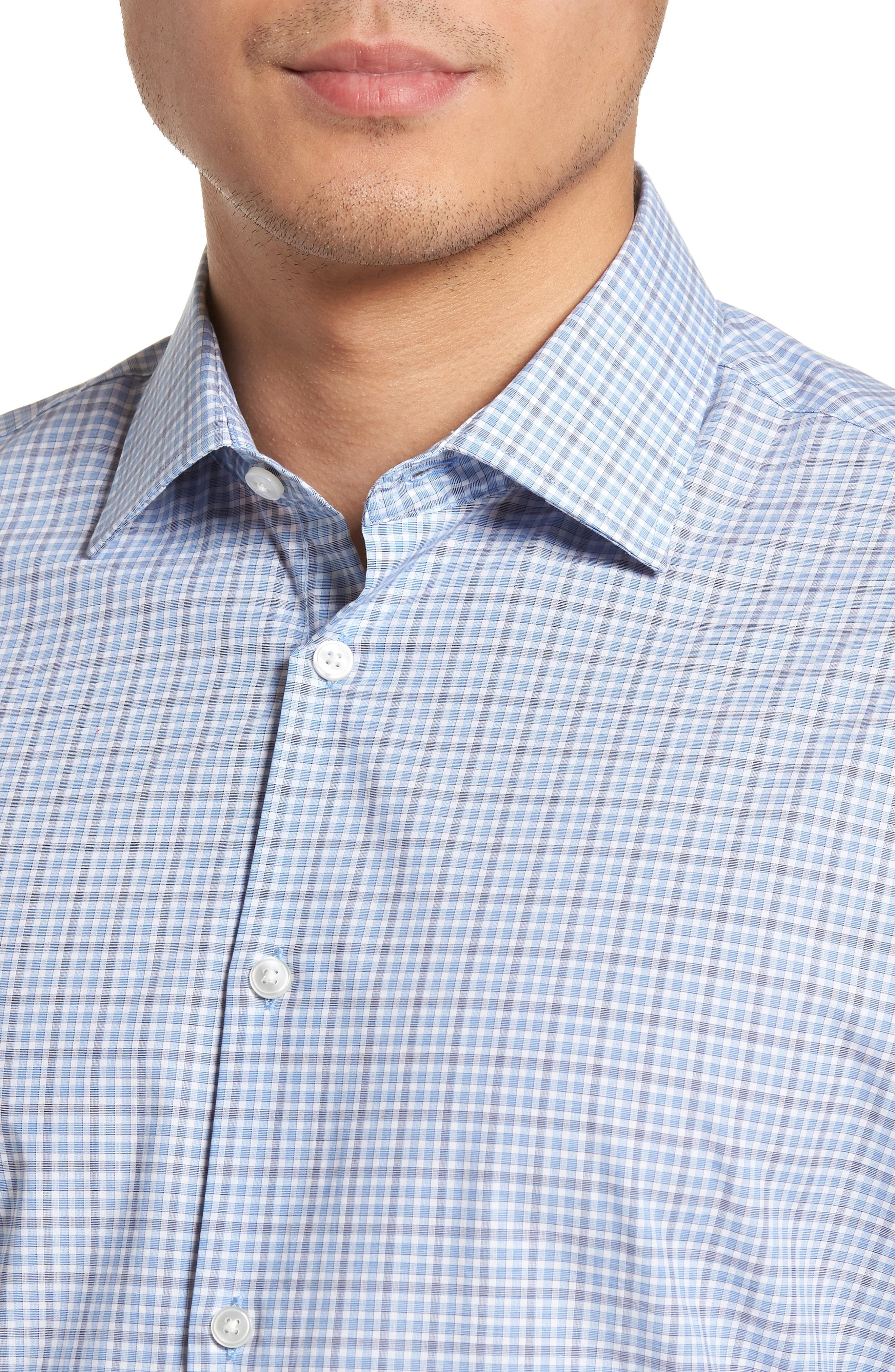 Regular Fit Stretch Check Dress Shirt,                             Alternate thumbnail 2, color,                             Sky
