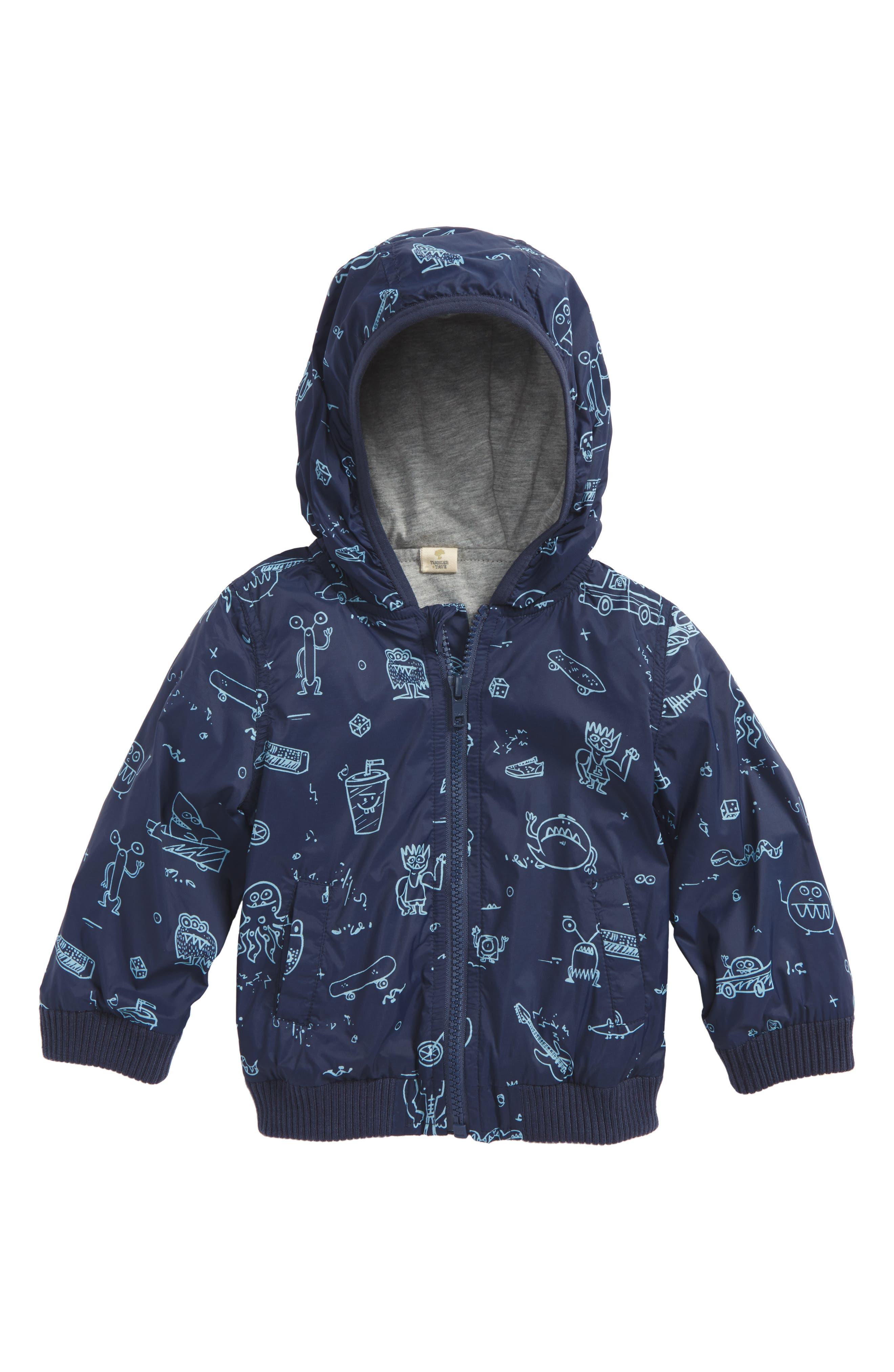 Hooded Jacket,                             Main thumbnail 1, color,                             Navy Denim Doodle