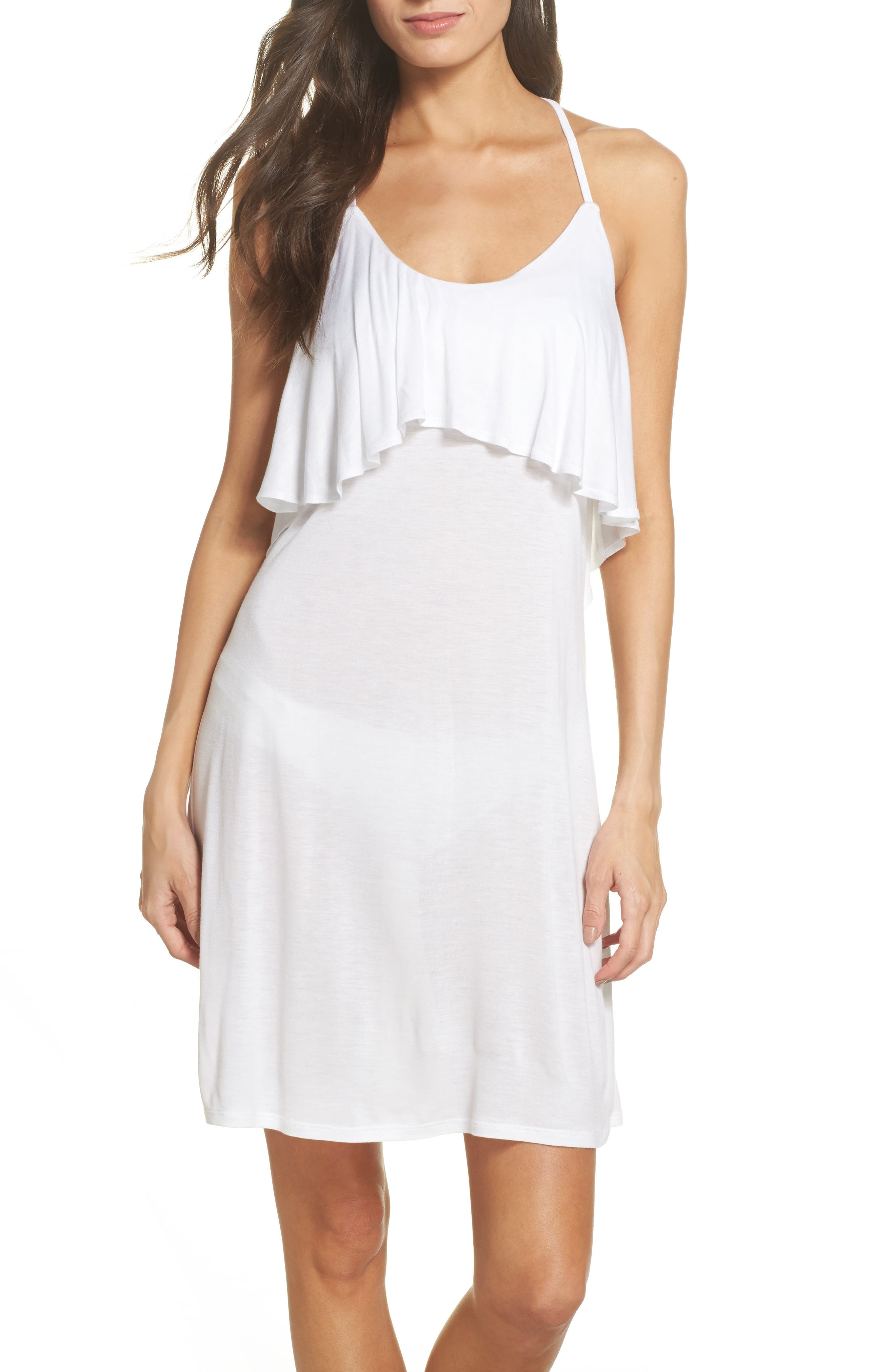 Ruffle Cover-Up Dress,                         Main,                         color, White