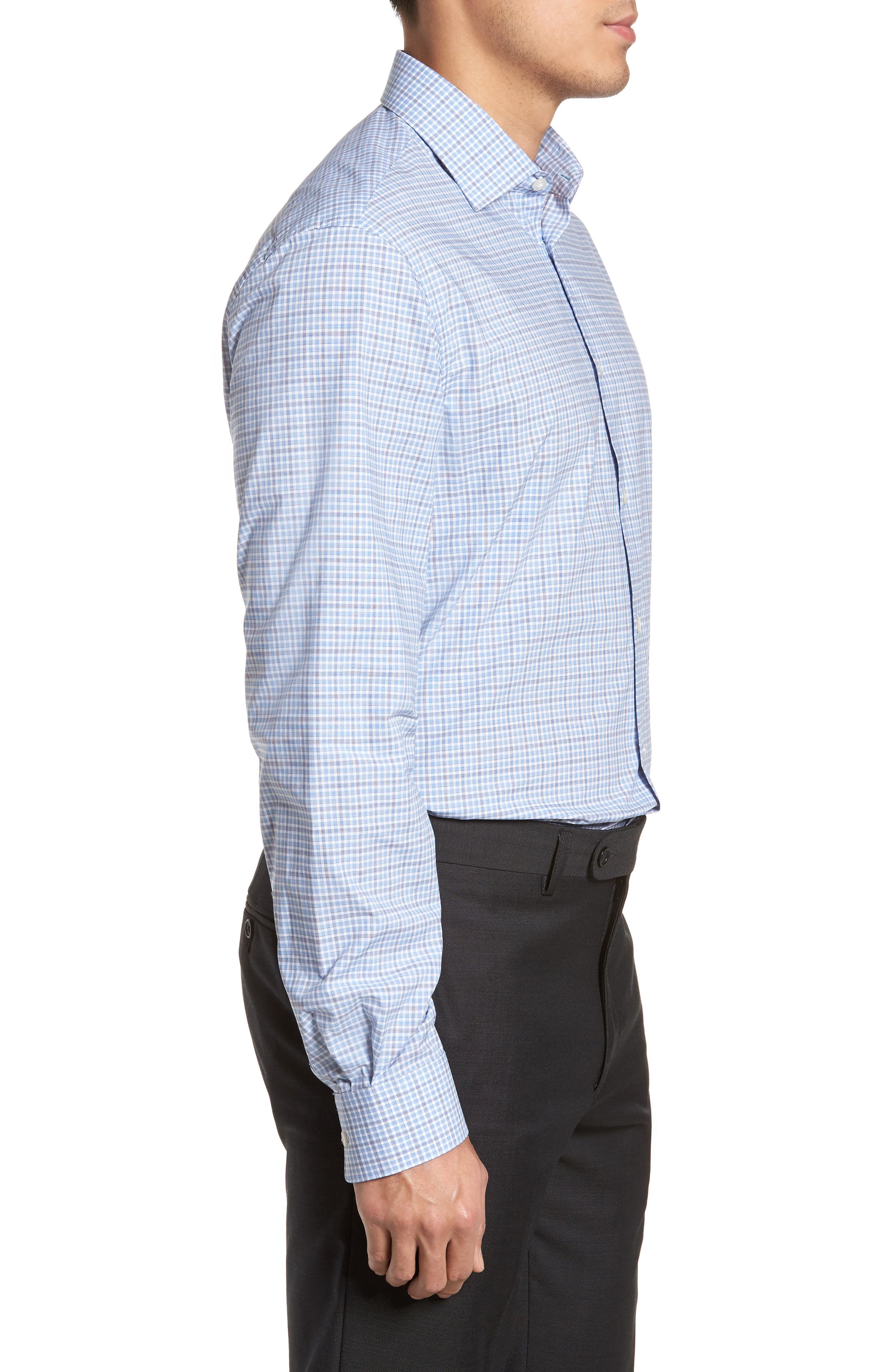 Regular Fit Stretch Check Dress Shirt,                             Alternate thumbnail 4, color,                             Sky