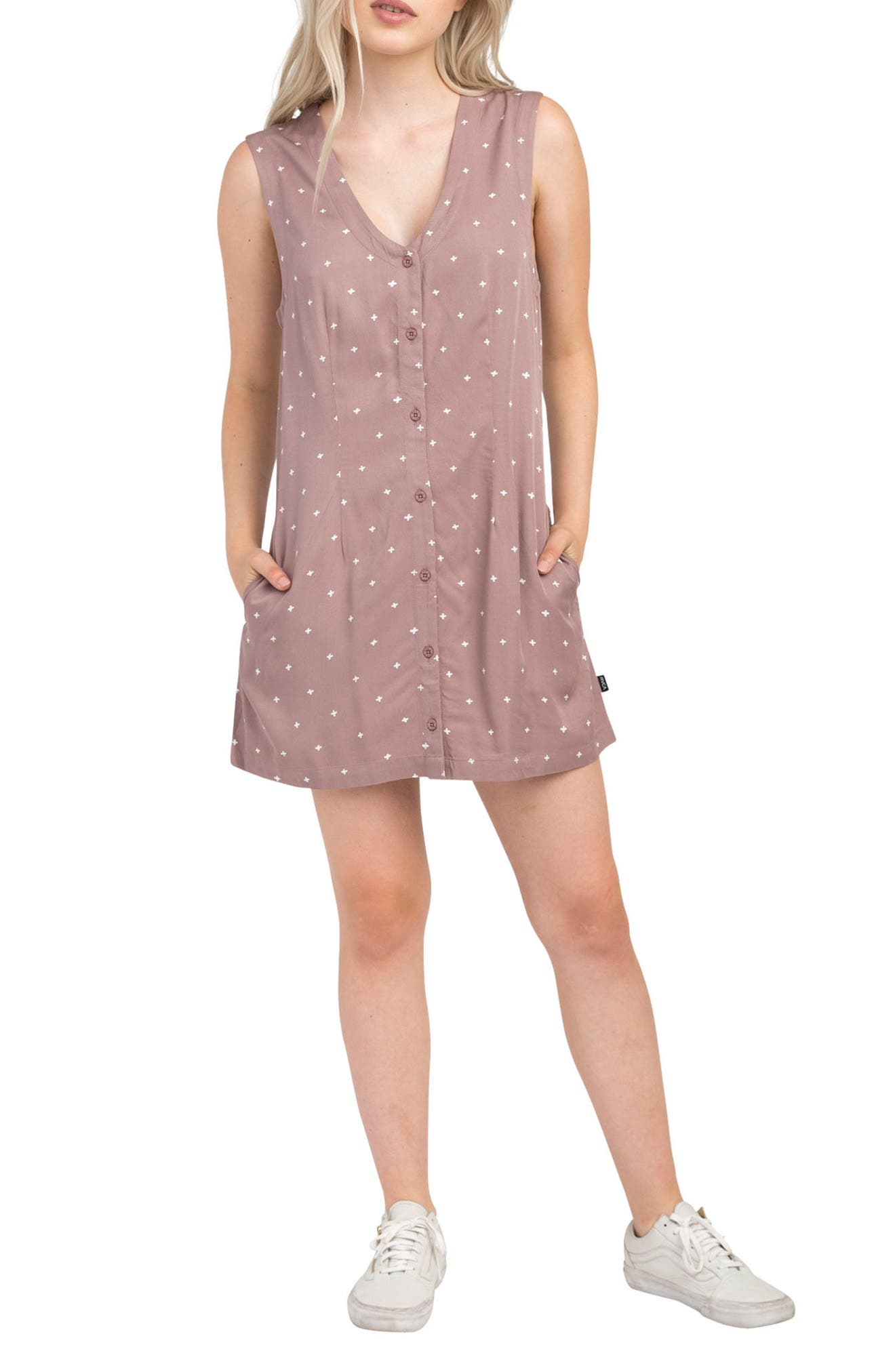 Fairness Print Dress,                             Main thumbnail 1, color,                             Mauve