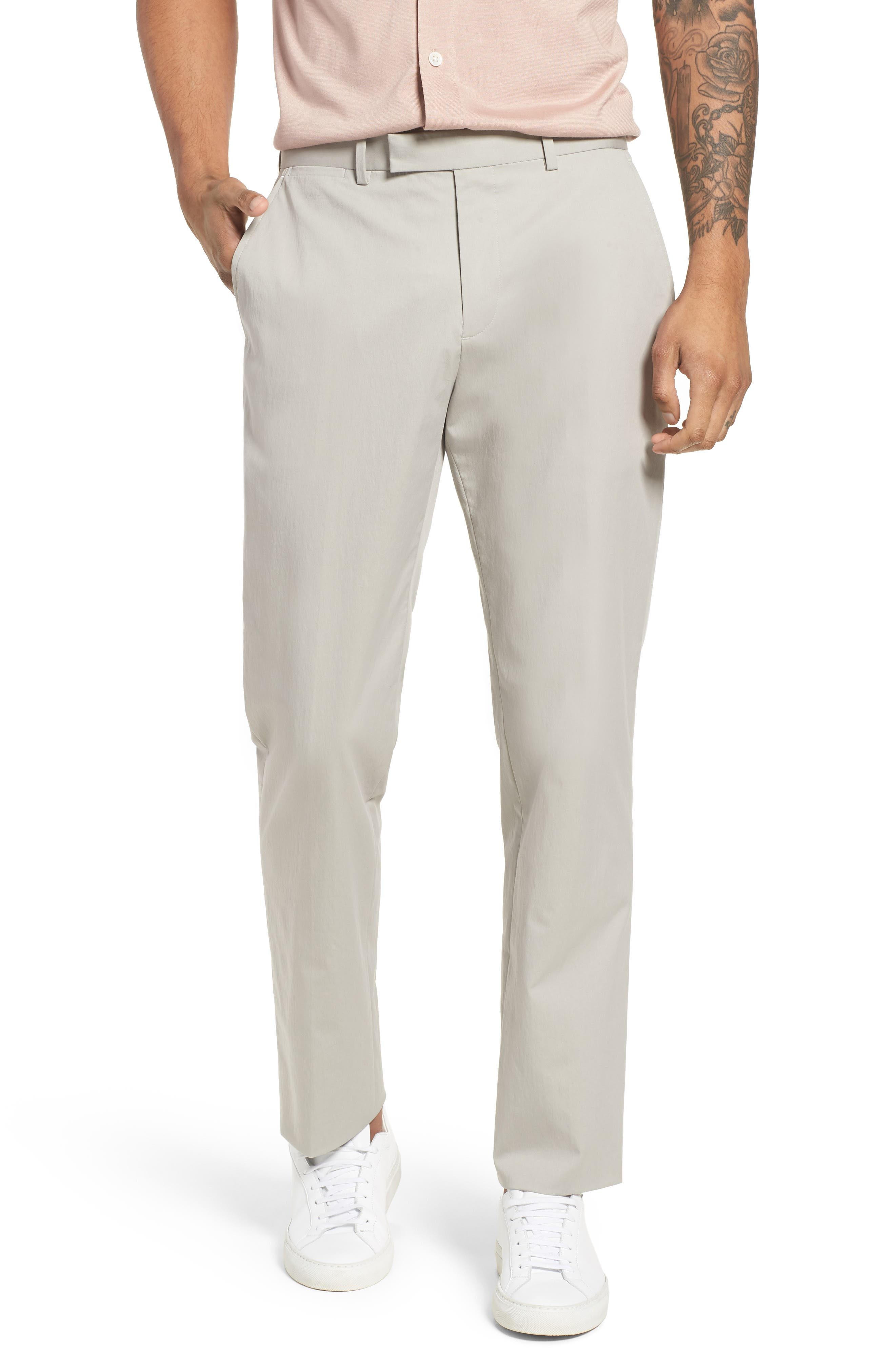 Zaine Technical Flat Front Stretch Pants,                             Main thumbnail 1, color,                             Ash