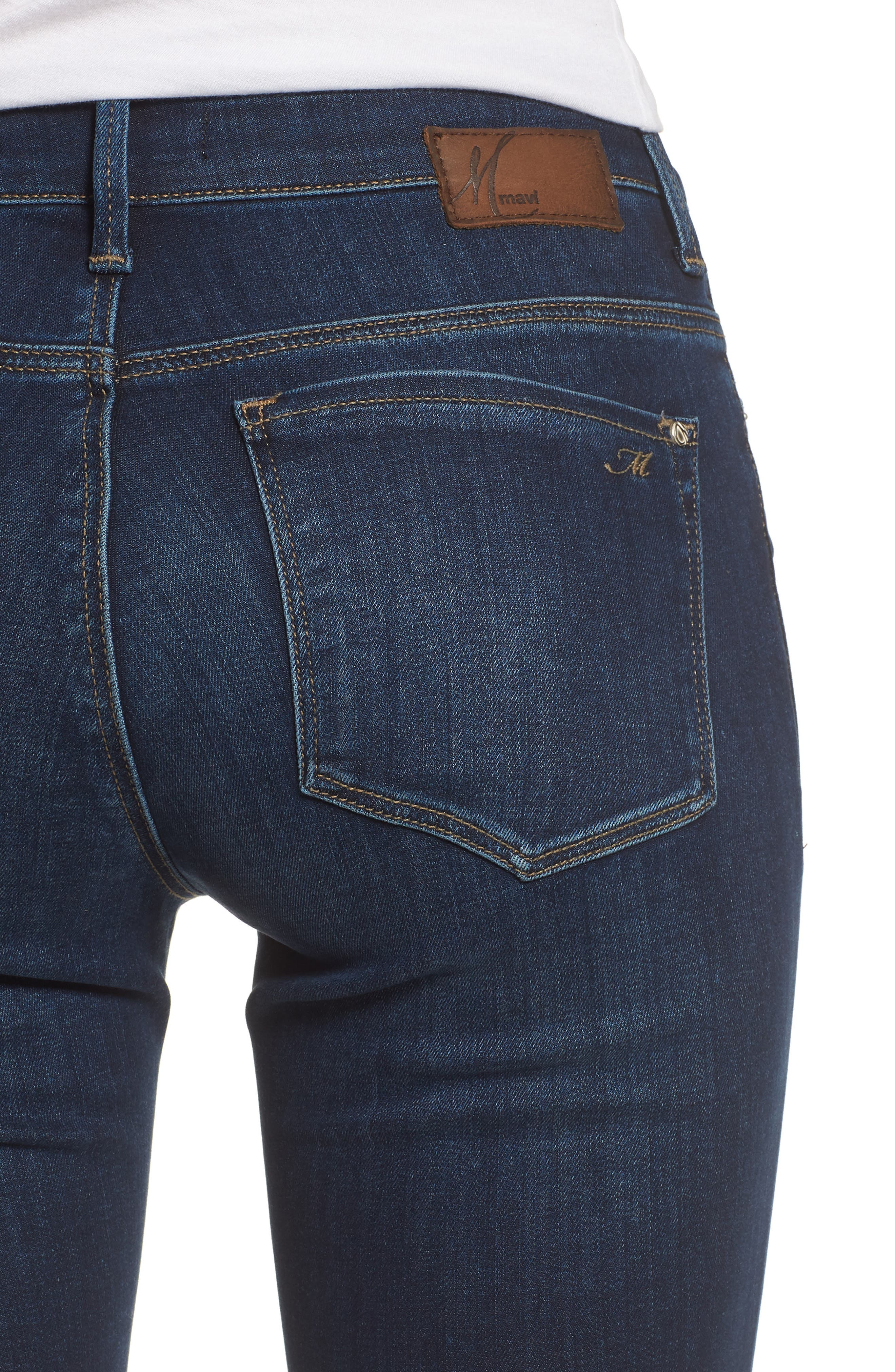 Alternate Image 4  - Mavi Jeans Alissa Skinny Jeans (Dark Supersoft)