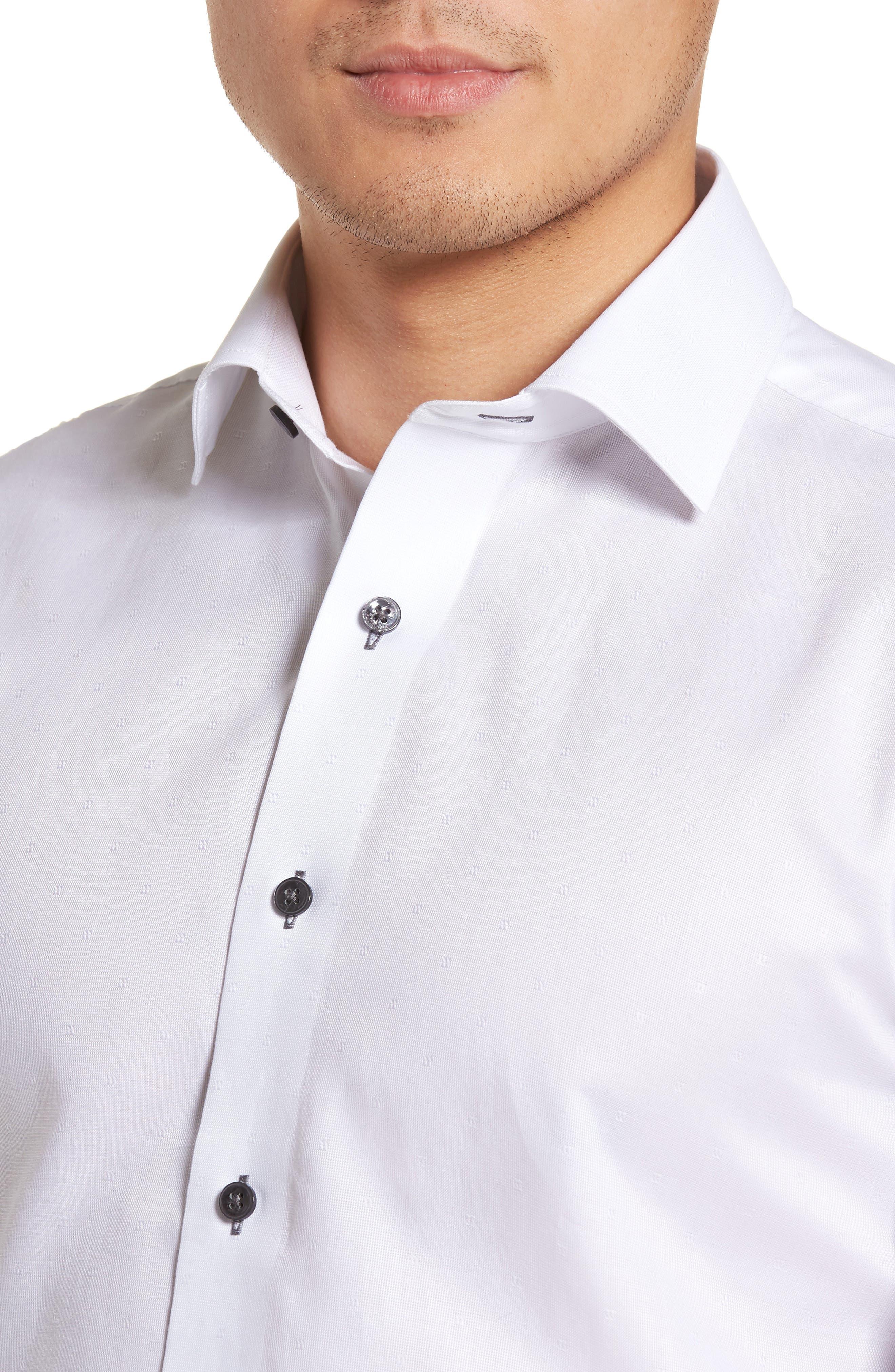 Trim Fit Textured Dress Shirt,                             Alternate thumbnail 2, color,                             White