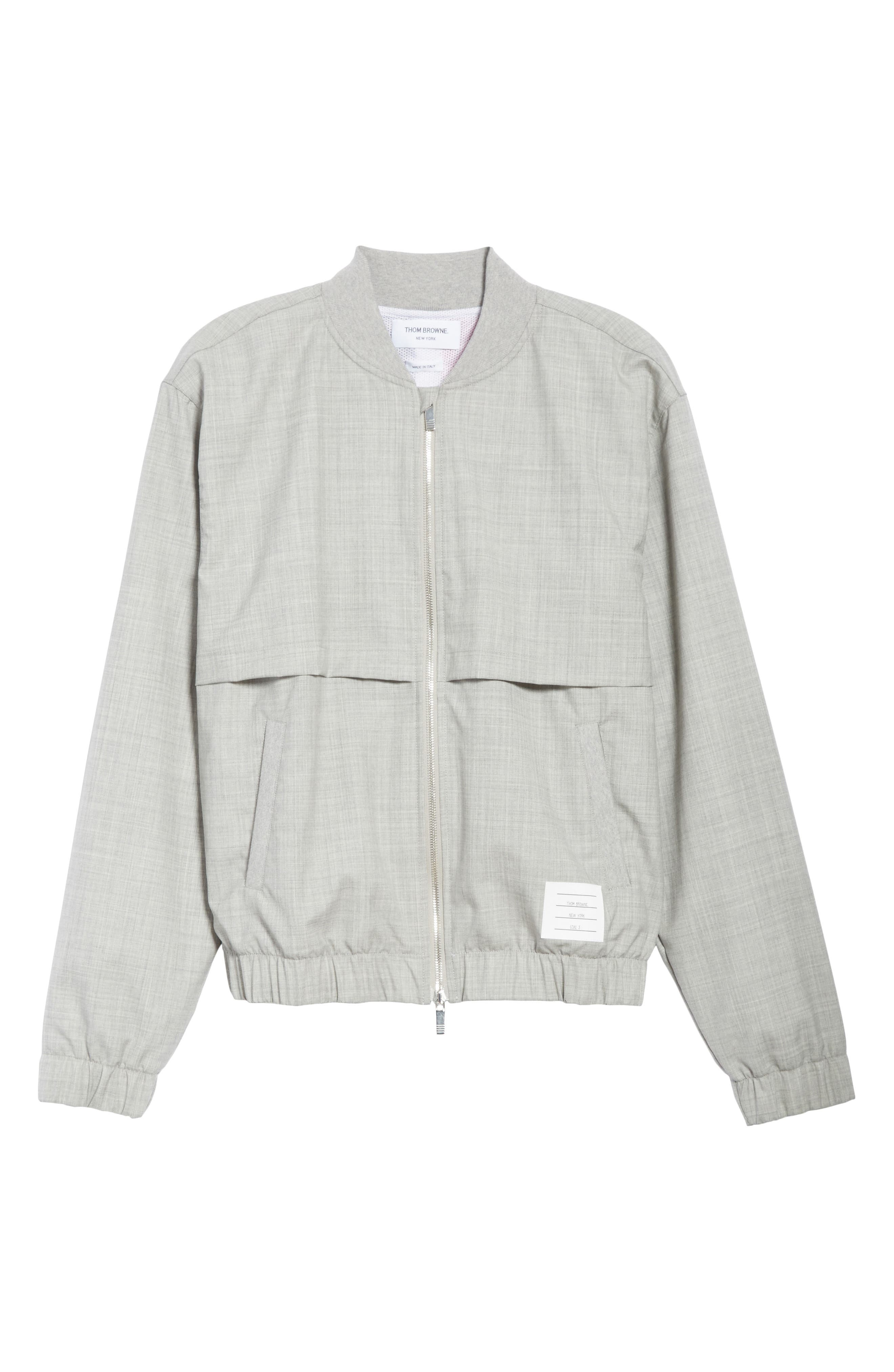 Lightweight Wool Bomber Jacket,                             Alternate thumbnail 6, color,                             Light Grey