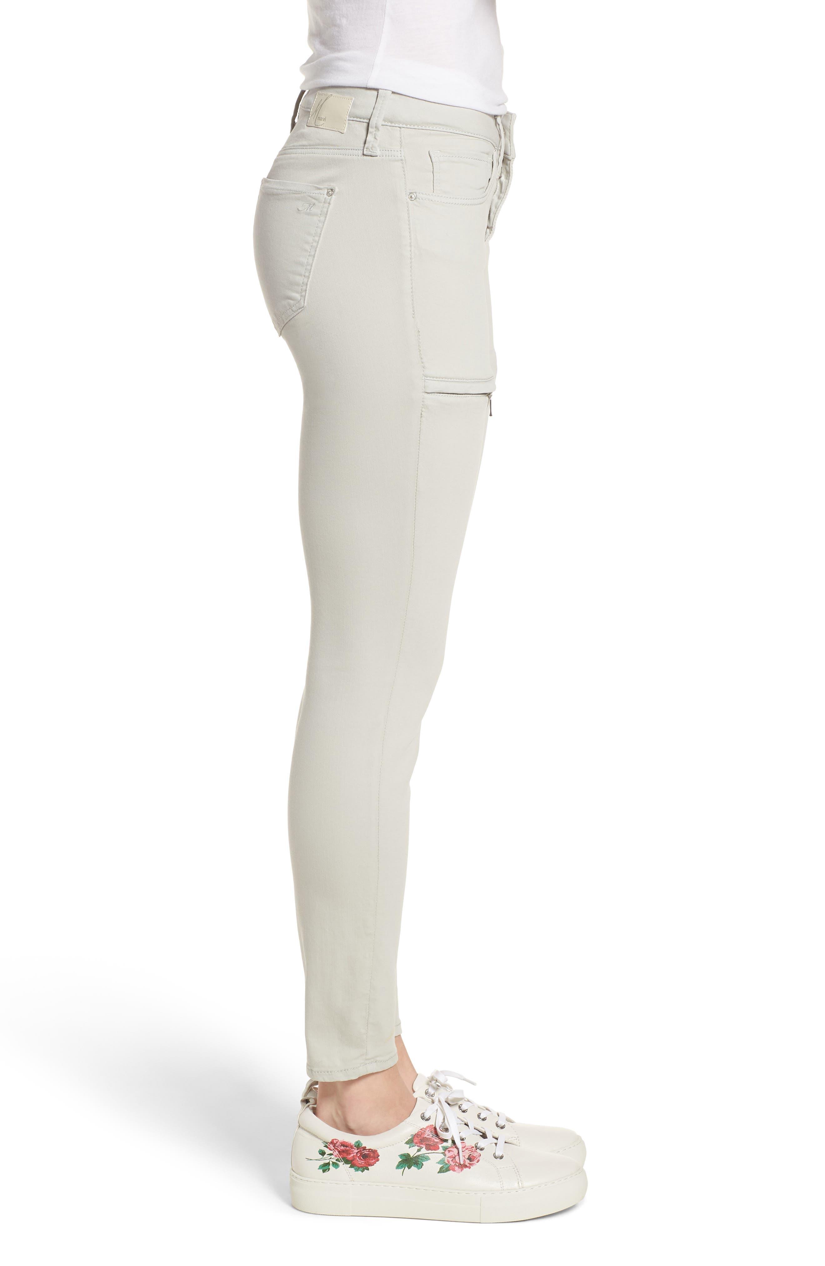Mavi Karlina Skinny Cargo Pants,                             Alternate thumbnail 3, color,                             Glacier Grey Twill