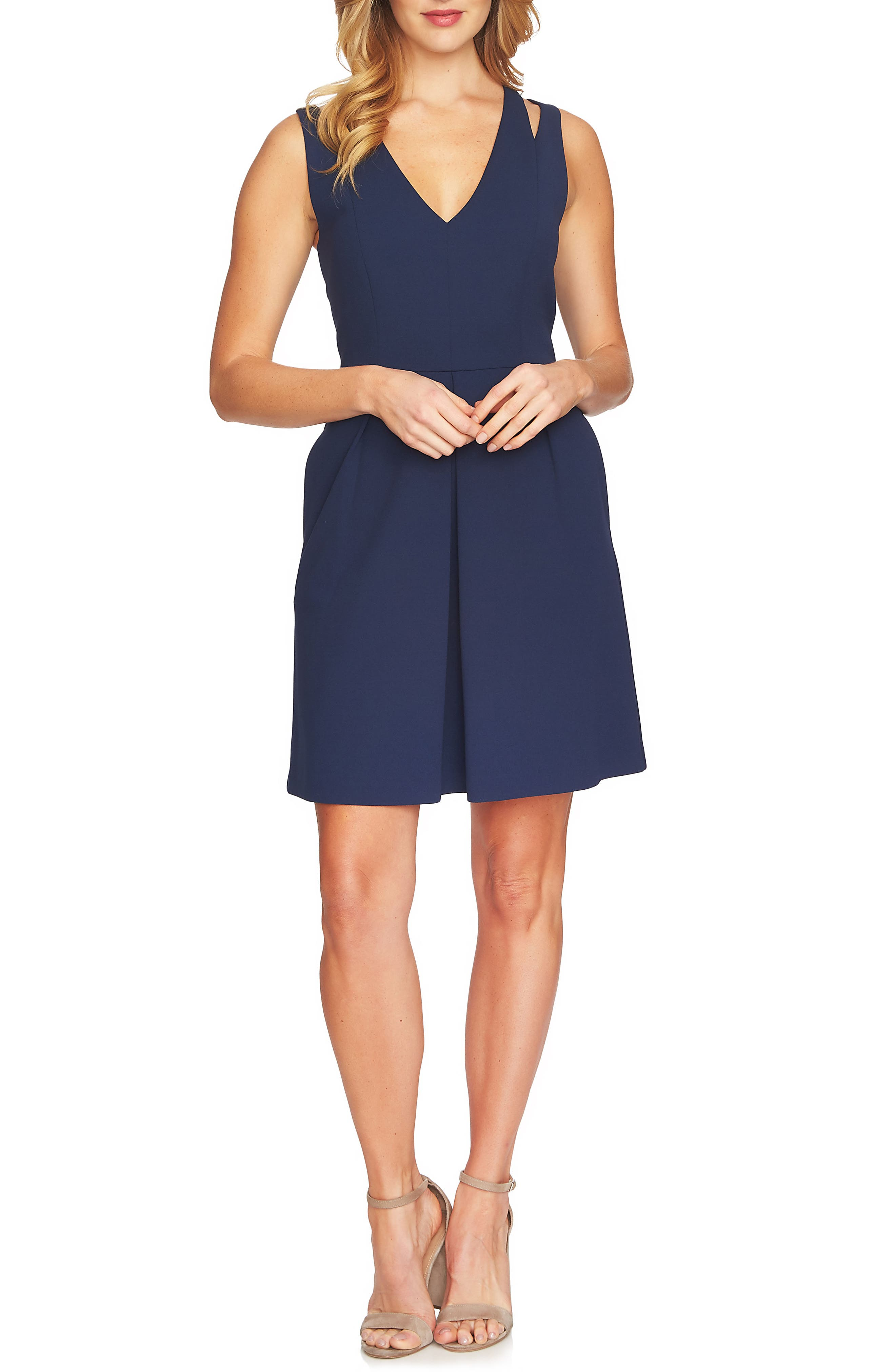 CeCe Split Sleeveless A-Line Dress