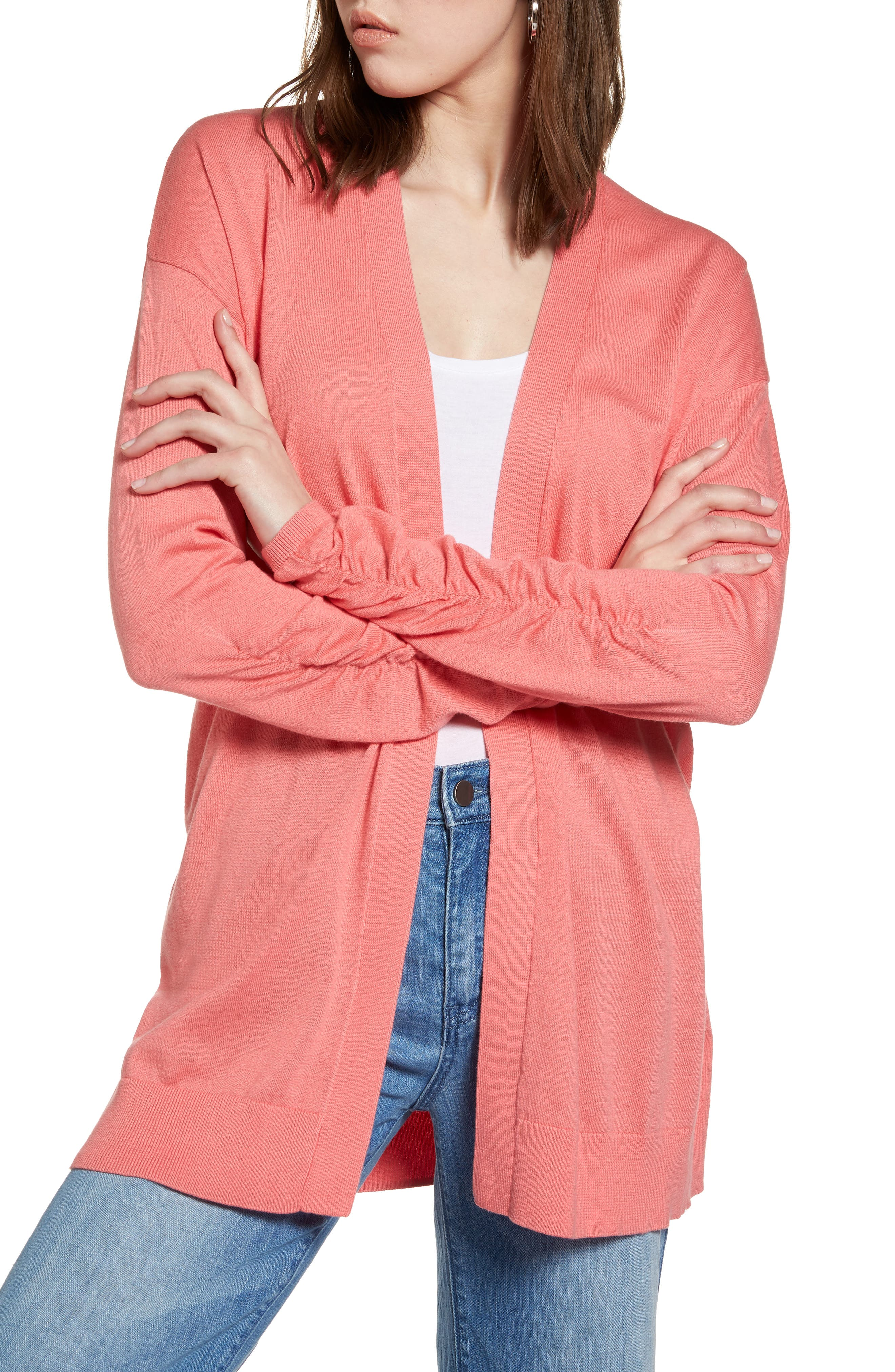 Halogen® Ruched Sleeve Cardigan (Regular & Petite)