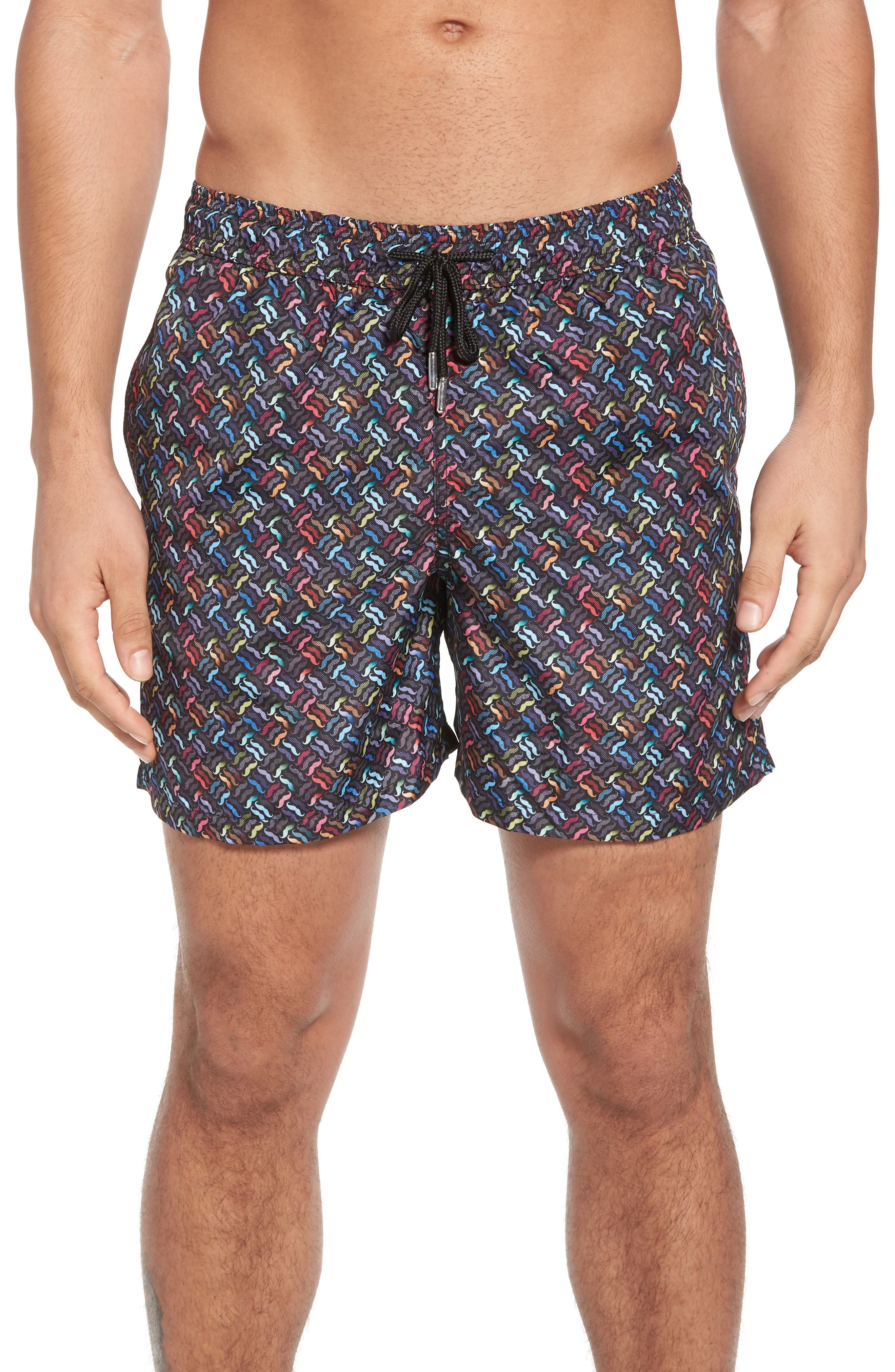Trim Fit Swim Shorts,                         Main,                         color, Black Moustache