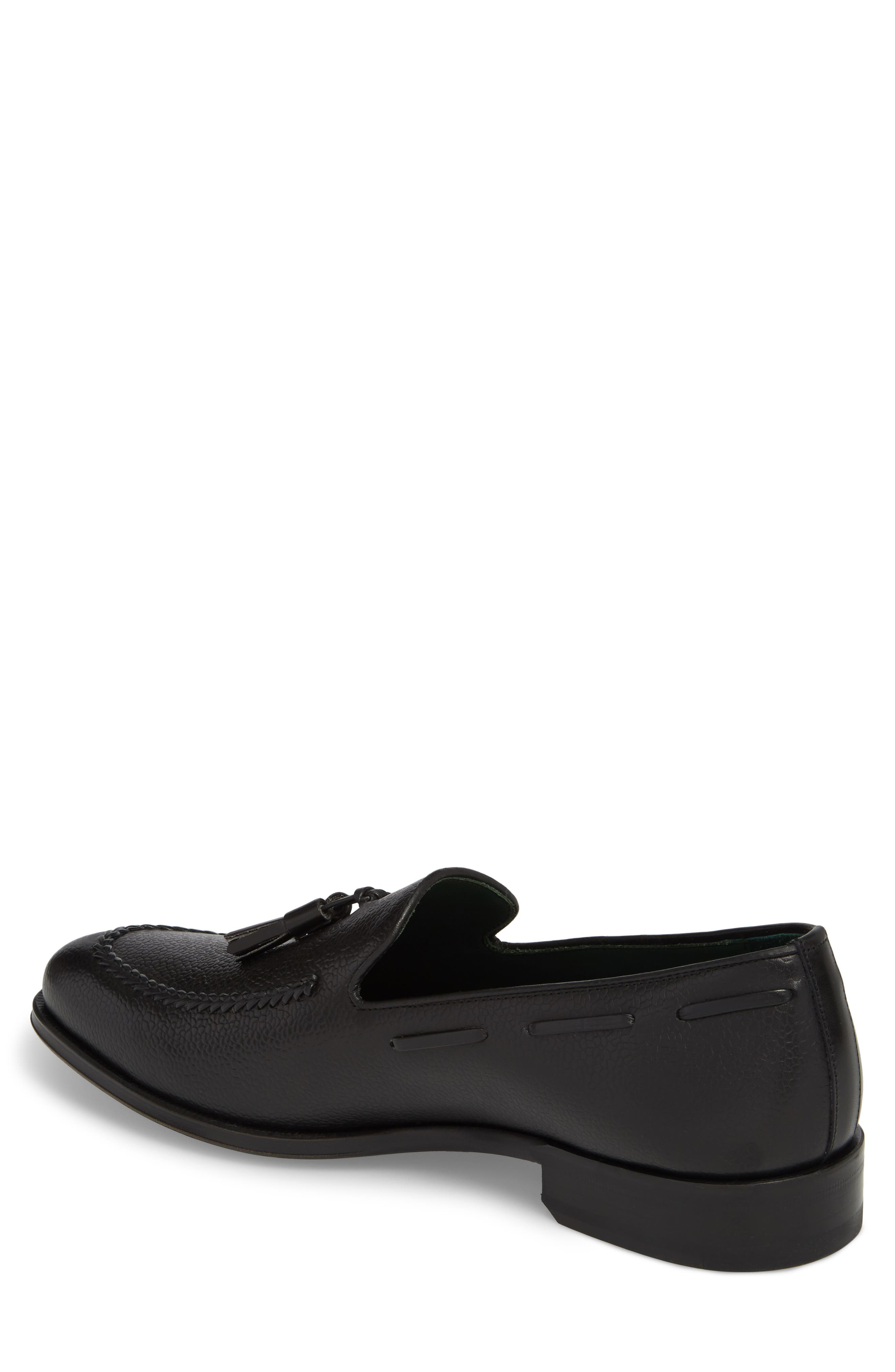 Sabina Tasseled Venetian Loafer,                             Alternate thumbnail 2, color,                             Black Leather