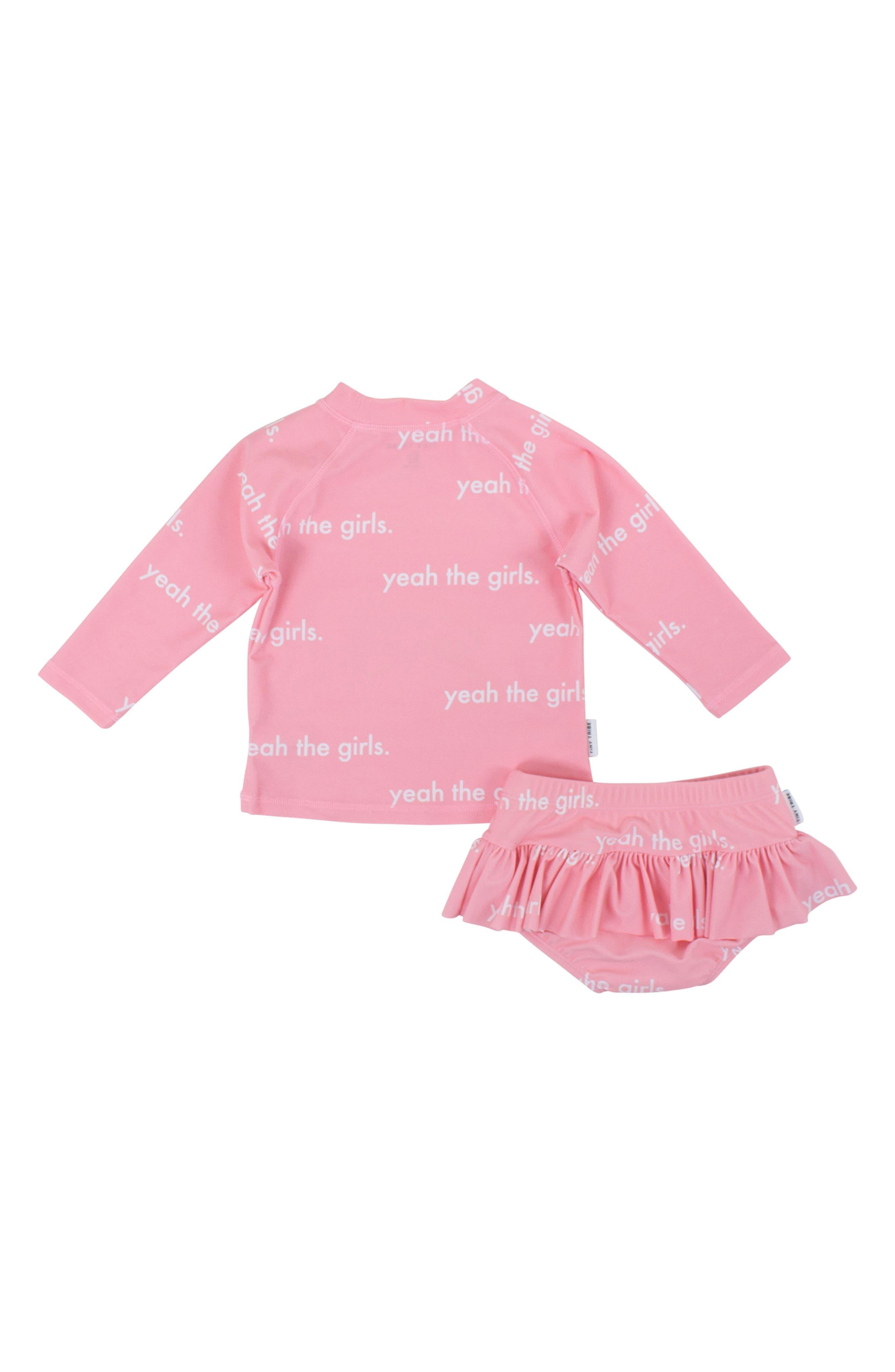 Yeah the Girls Two-Piece Rashguard Swim Suit,                             Alternate thumbnail 2, color,                             Pink