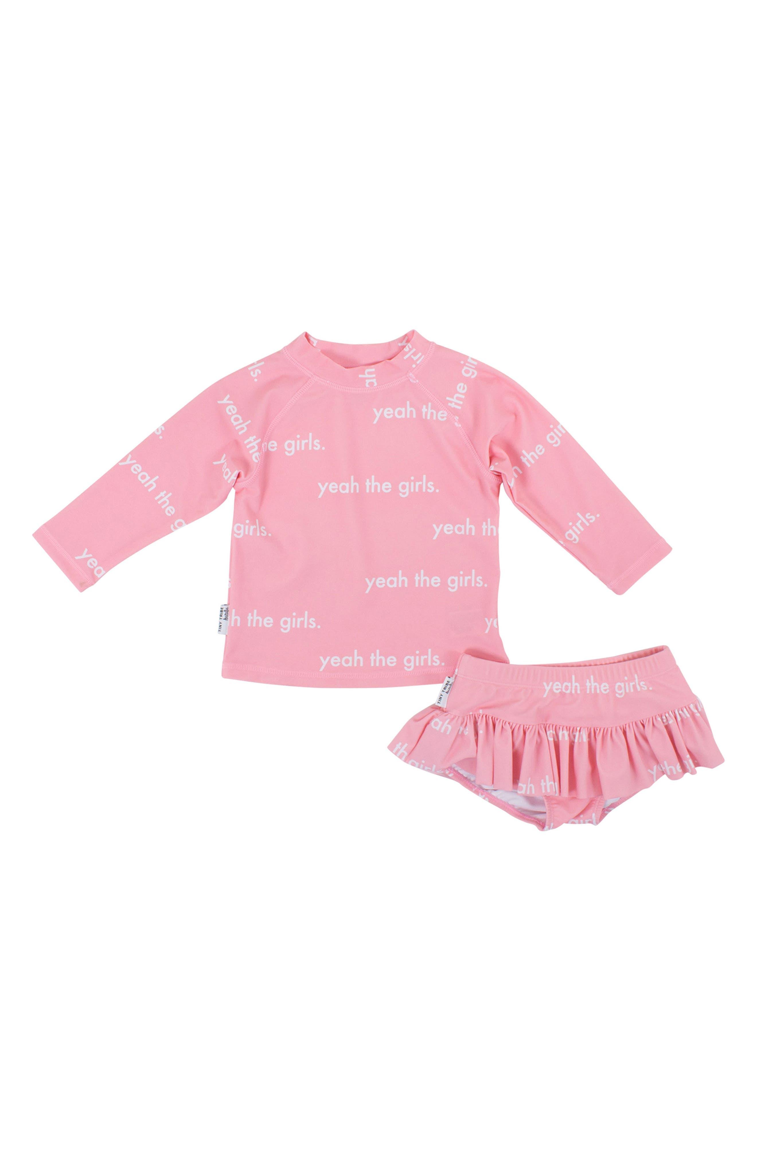 Yeah the Girls Two-Piece Rashguard Swim Suit,                             Main thumbnail 1, color,                             Pink