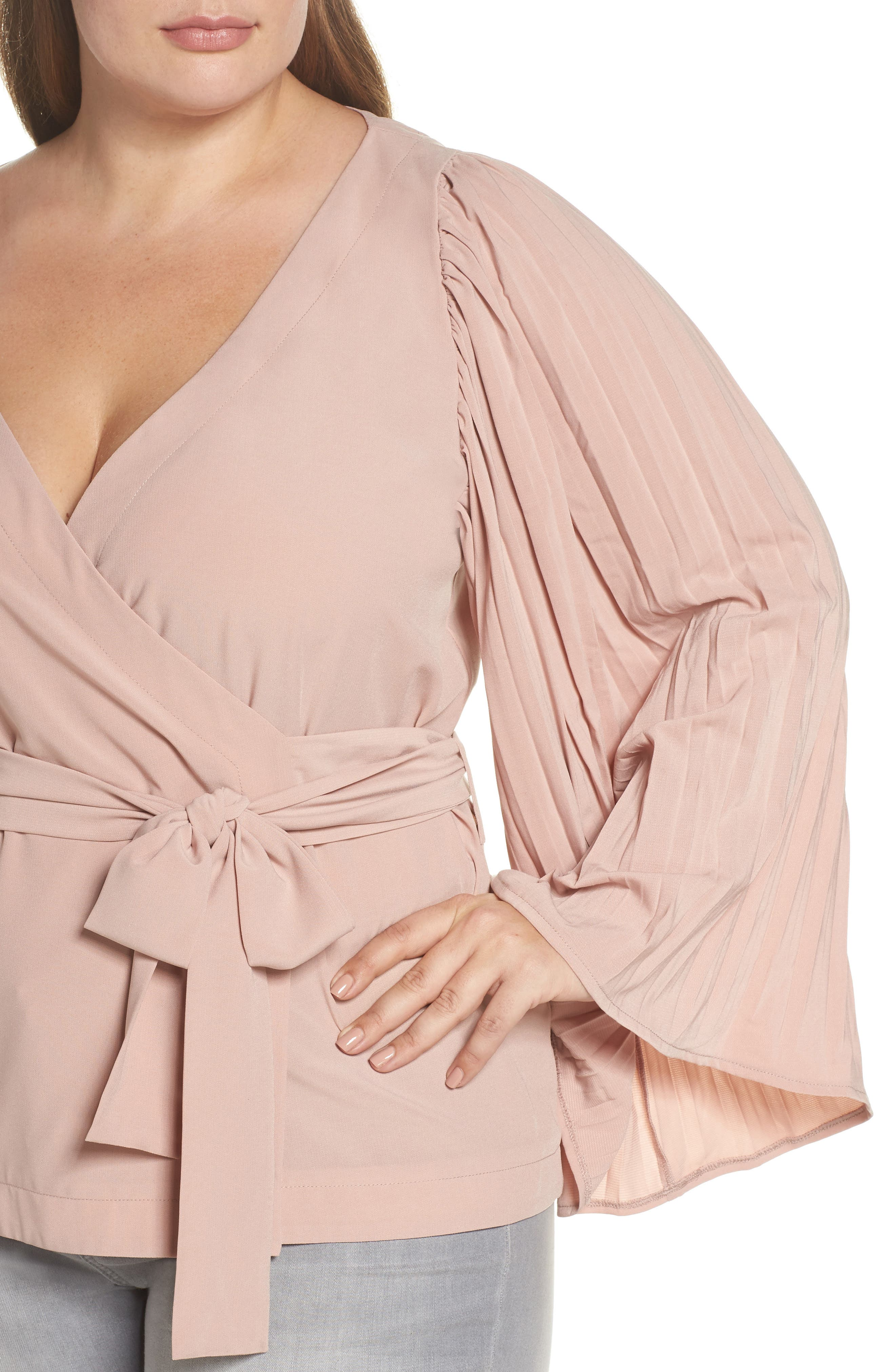 The Luster Pleat Sleeve Wrap Top,                             Alternate thumbnail 4, color,                             Pink