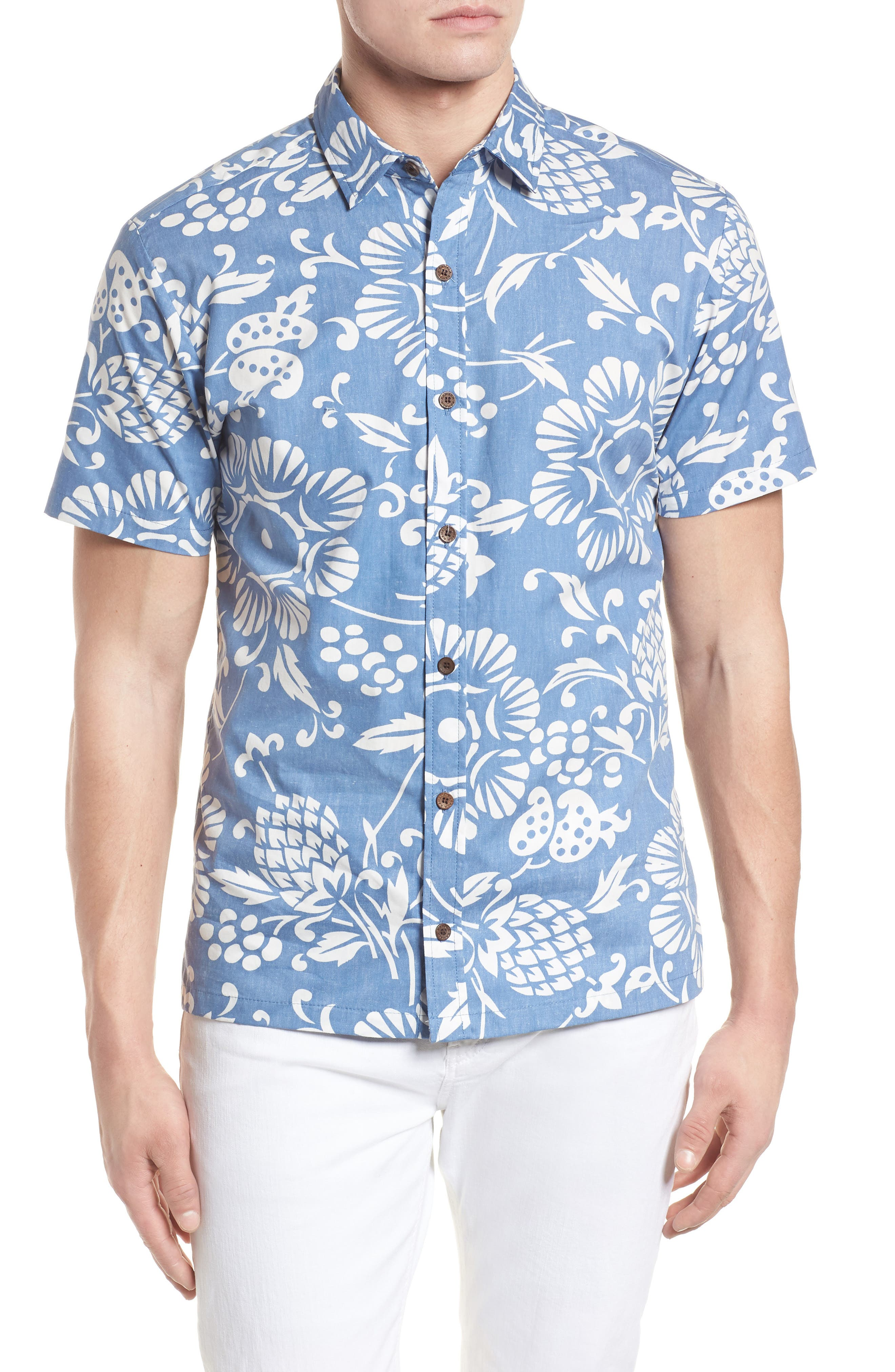 'Dukes Par' Trim Fit Sport Shirt,                         Main,                         color, Wave