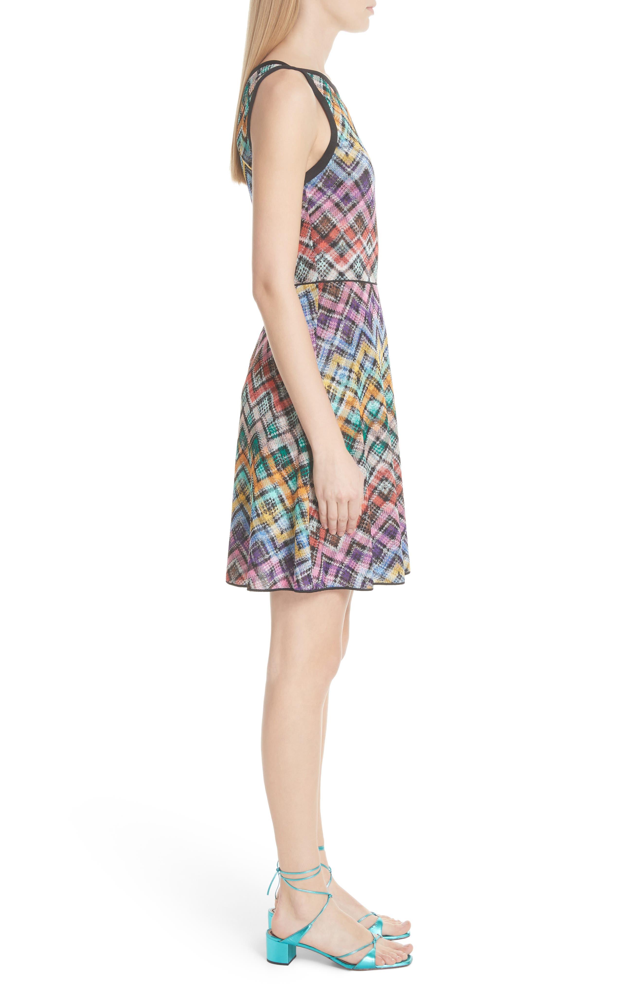 Plaid Knit Fit & Flare Dress,                             Alternate thumbnail 3, color,                             Multi