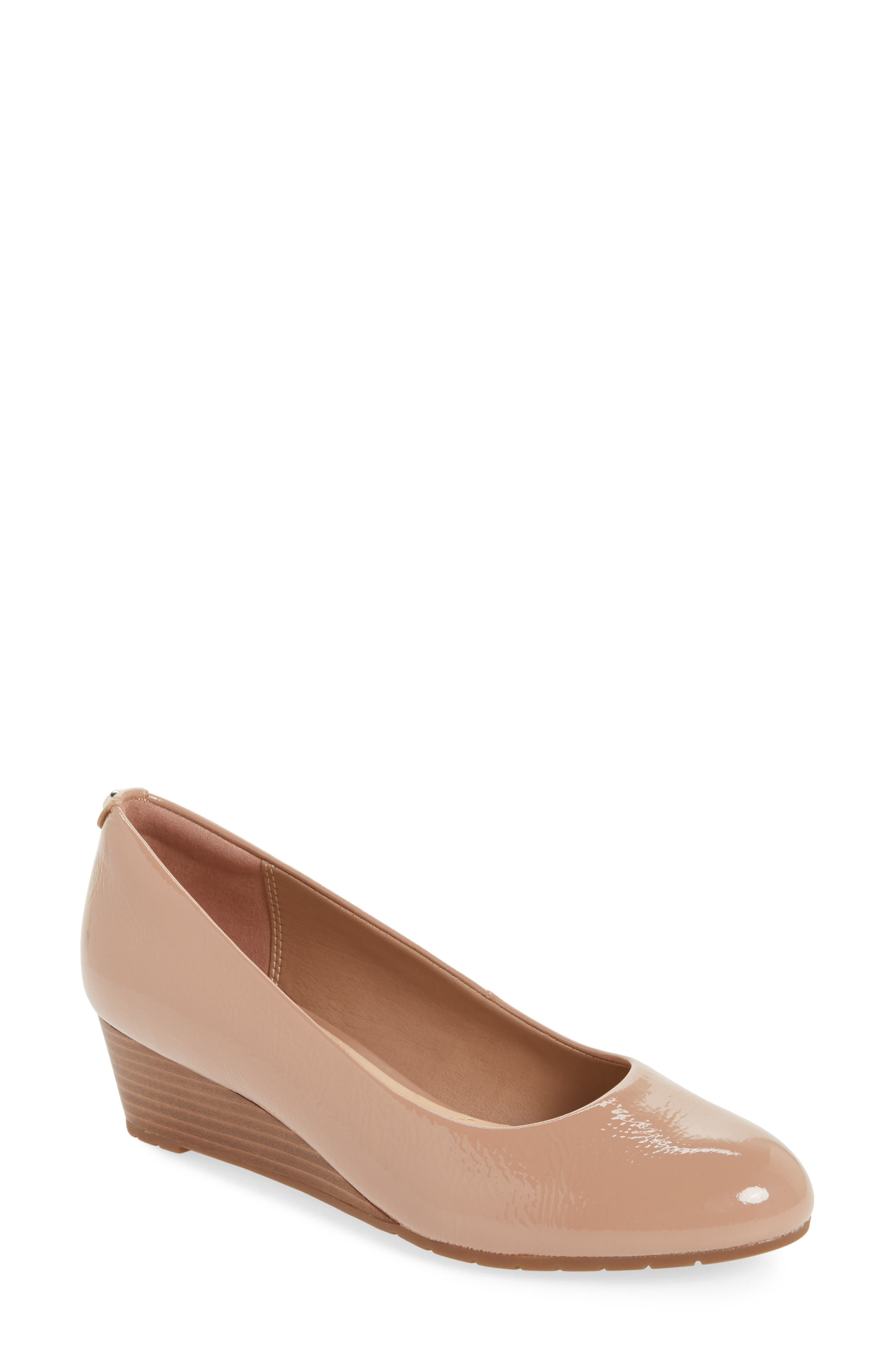 Vendra Bloom Wedge Pump,                             Main thumbnail 1, color,                             Beige Patent Leather