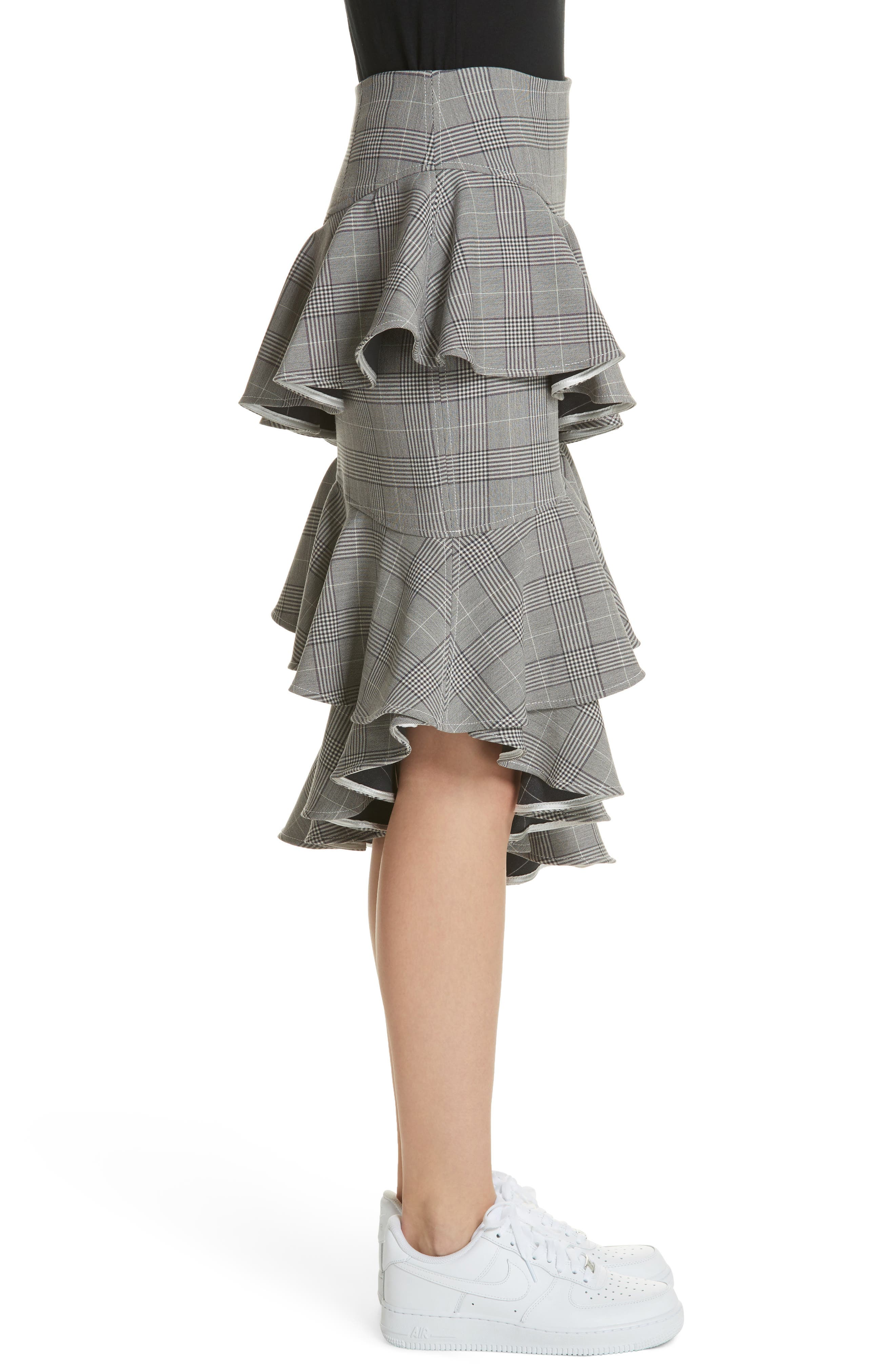 Garvey Plaid Ruffle Tier Skirt,                             Alternate thumbnail 3, color,                             Paloma Melange