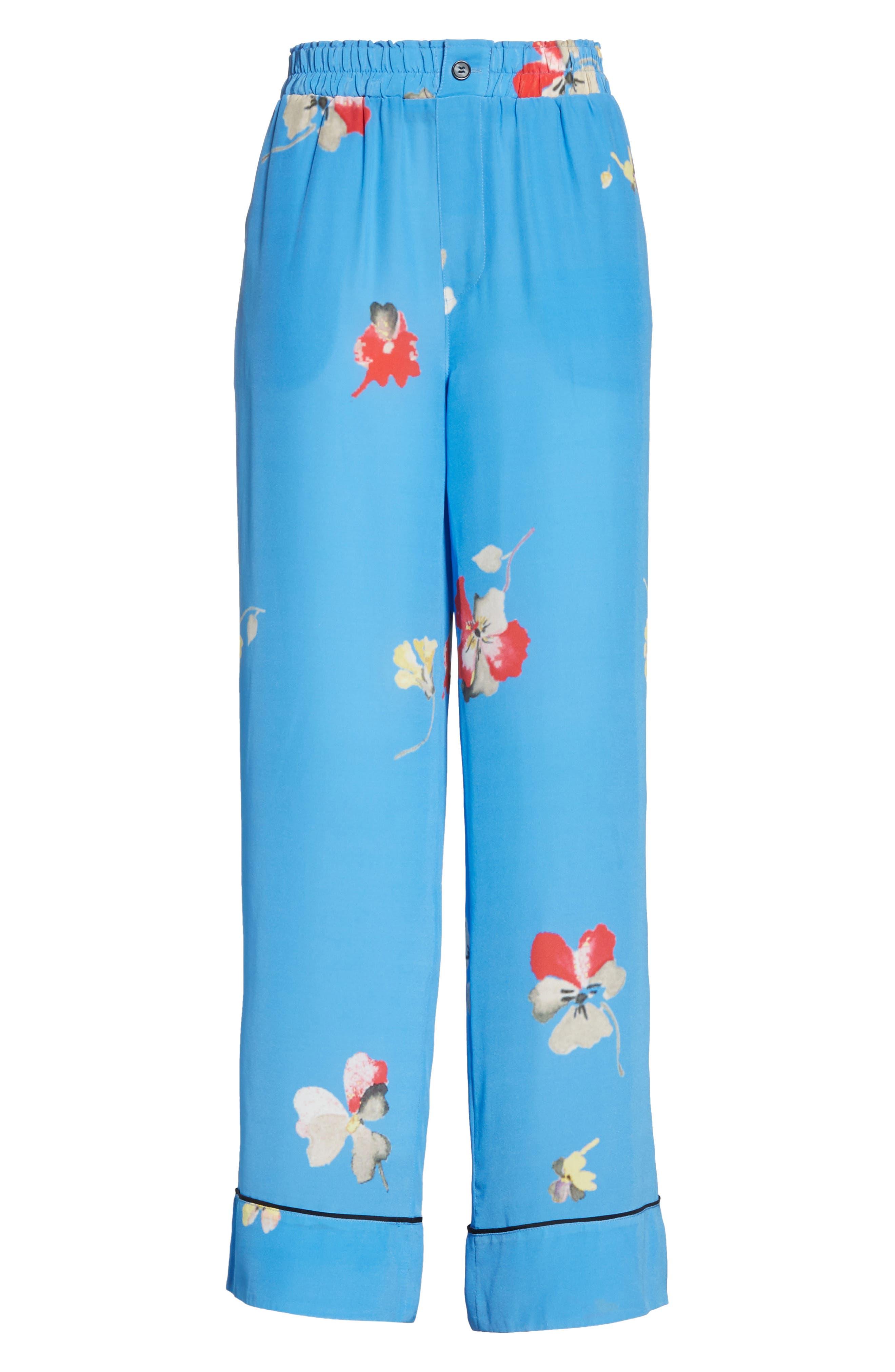 Joycedale Floral Silk Lounge Pants,                             Alternate thumbnail 6, color,                             Marina