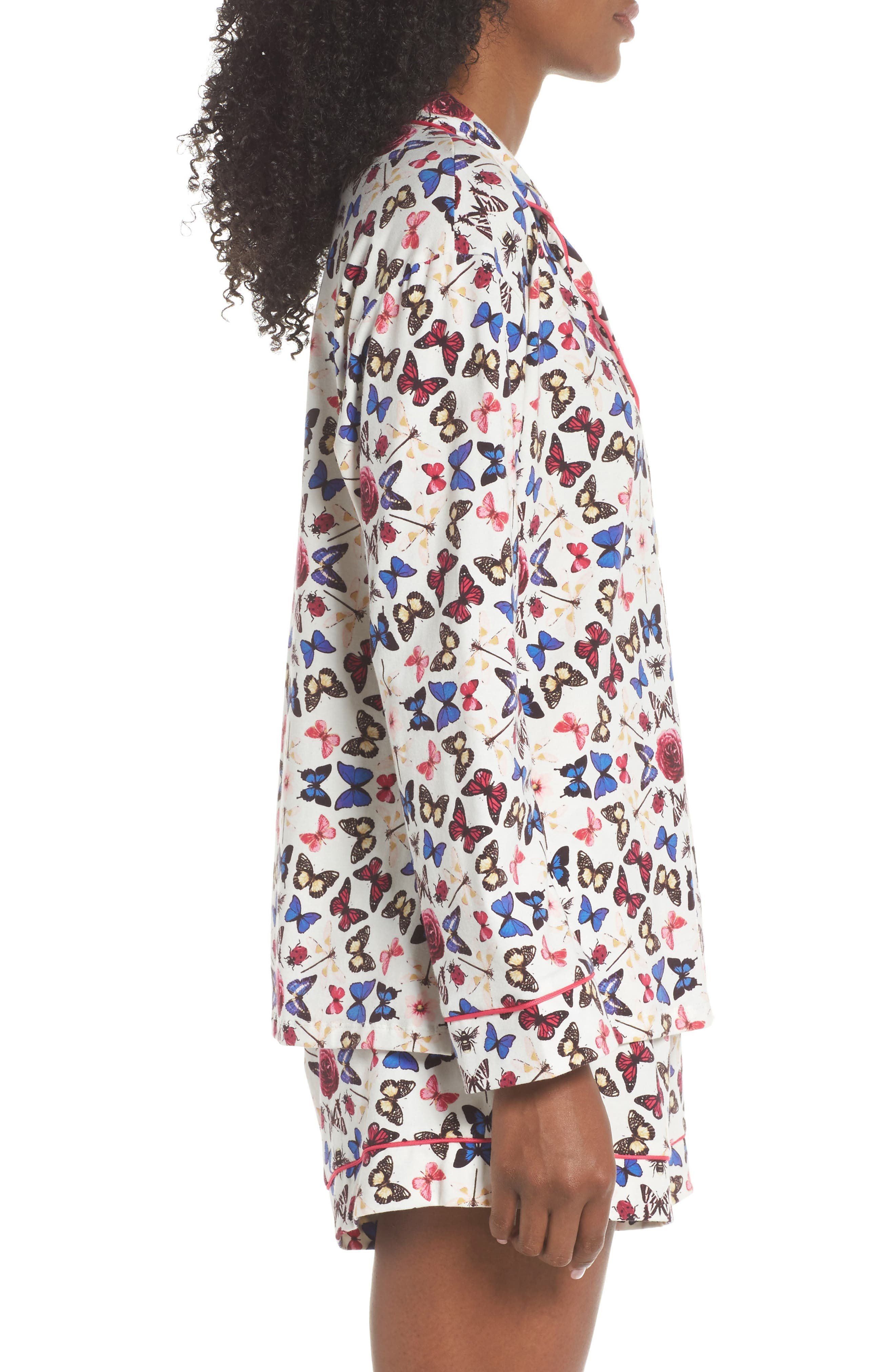 Rouge Short Pajamas,                             Alternate thumbnail 3, color,                             Butterfly Print