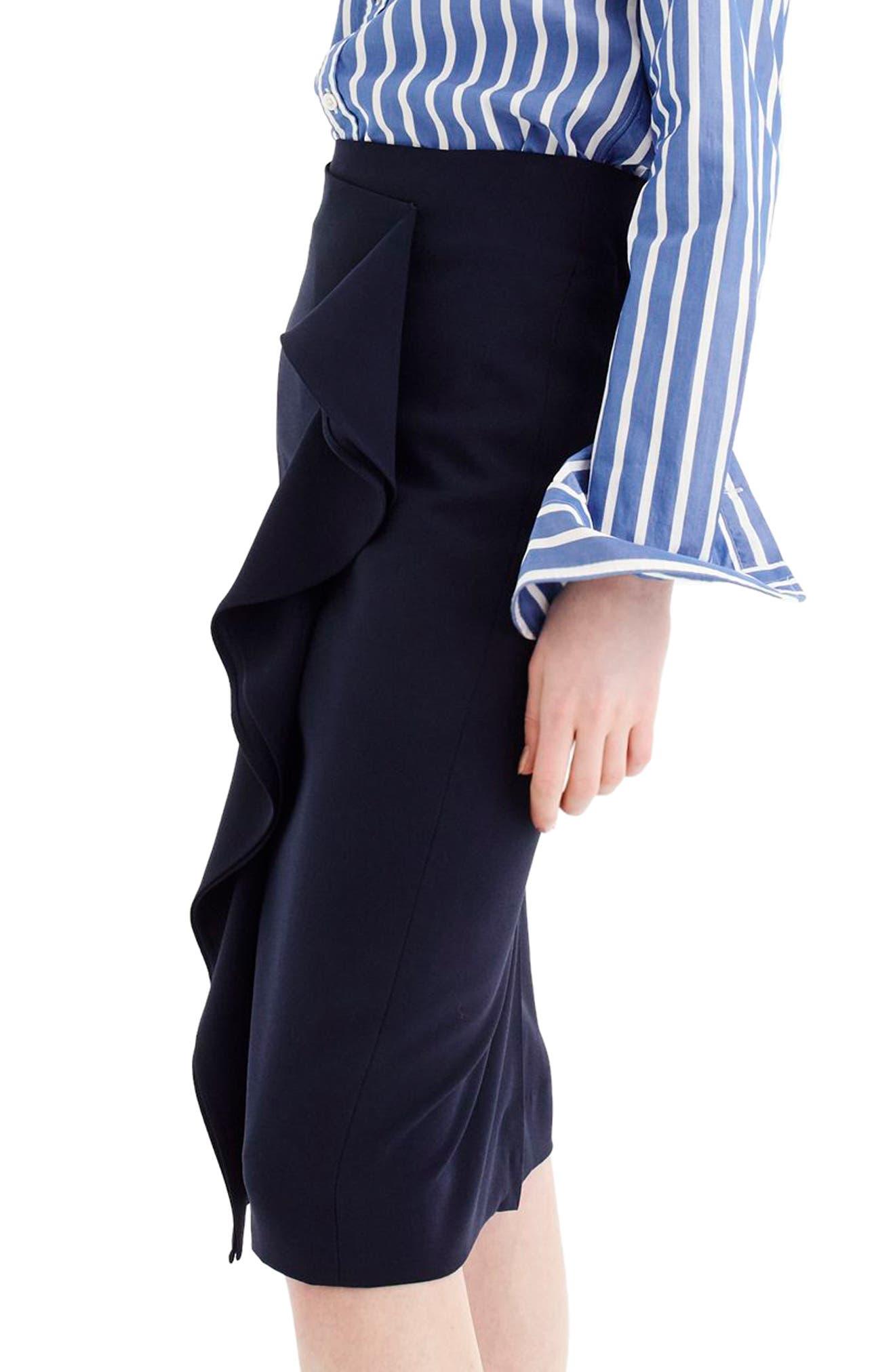 365 Crepe Ruffle Pencil Skirt,                             Alternate thumbnail 3, color,                             Navy
