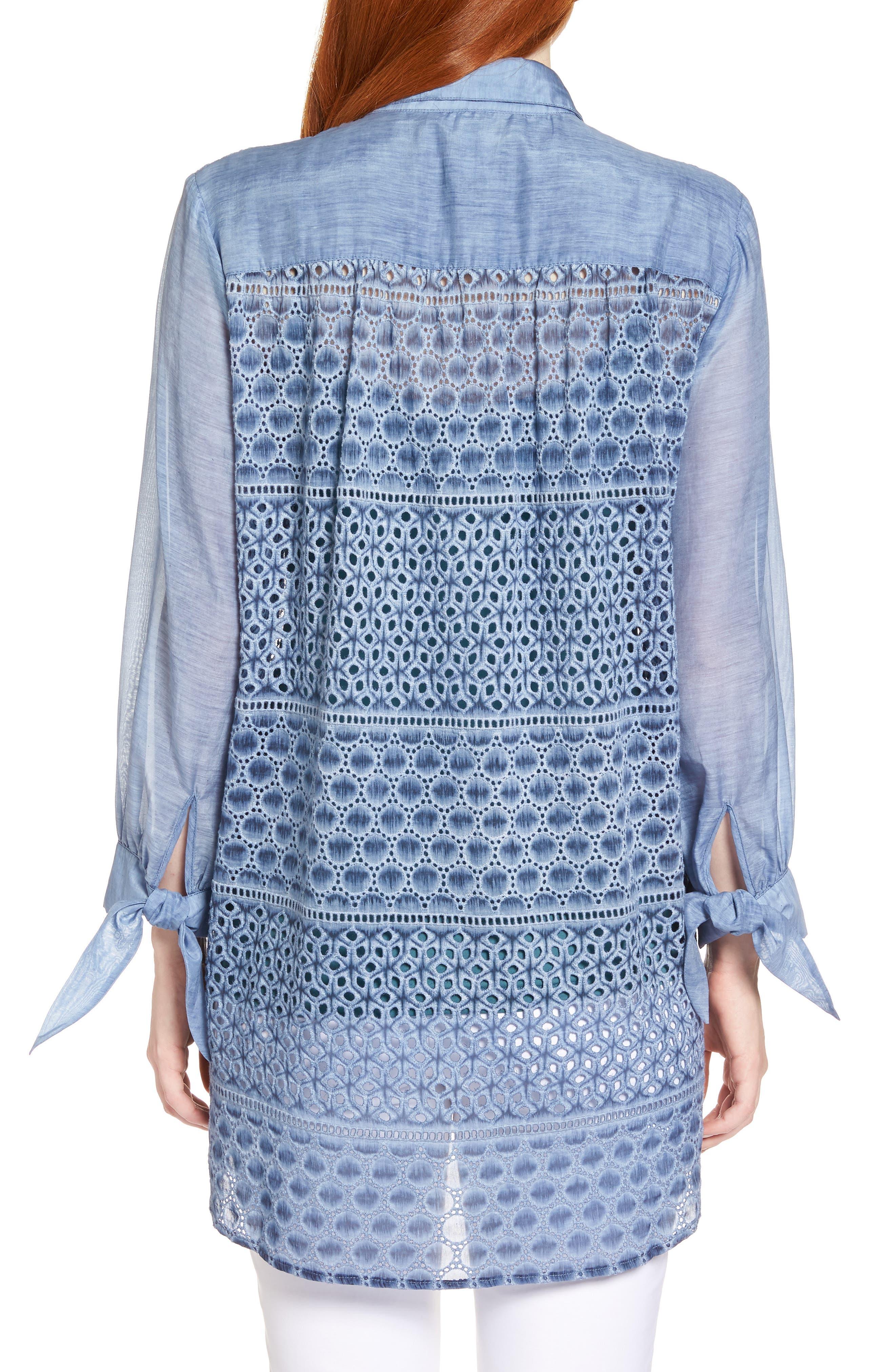 Mosaic Lace Cotton Silk Blouse,                             Alternate thumbnail 2, color,                             Mosaic Blue