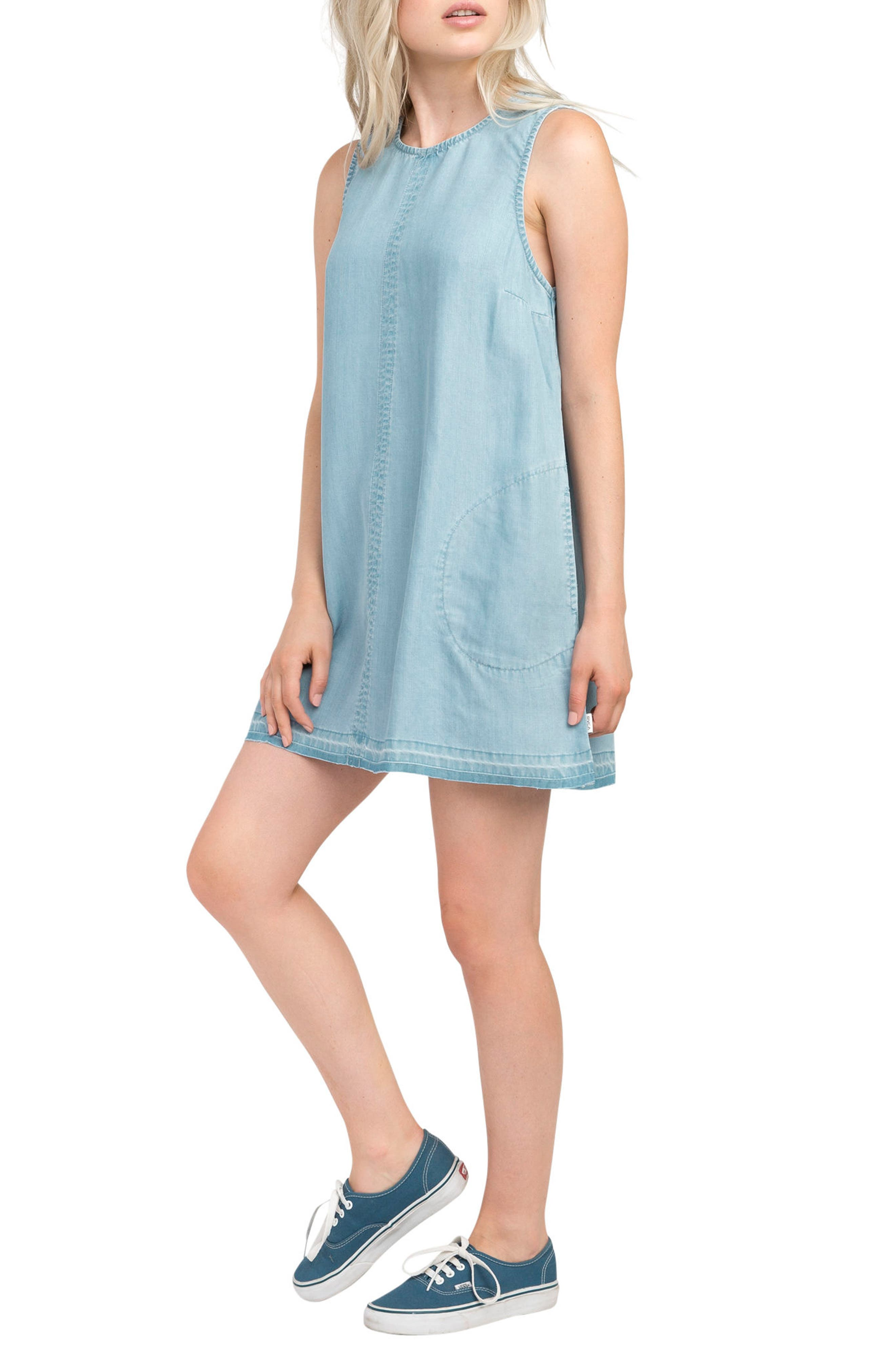 Release Chambray Shift Dress,                             Alternate thumbnail 4, color,                             Chambray