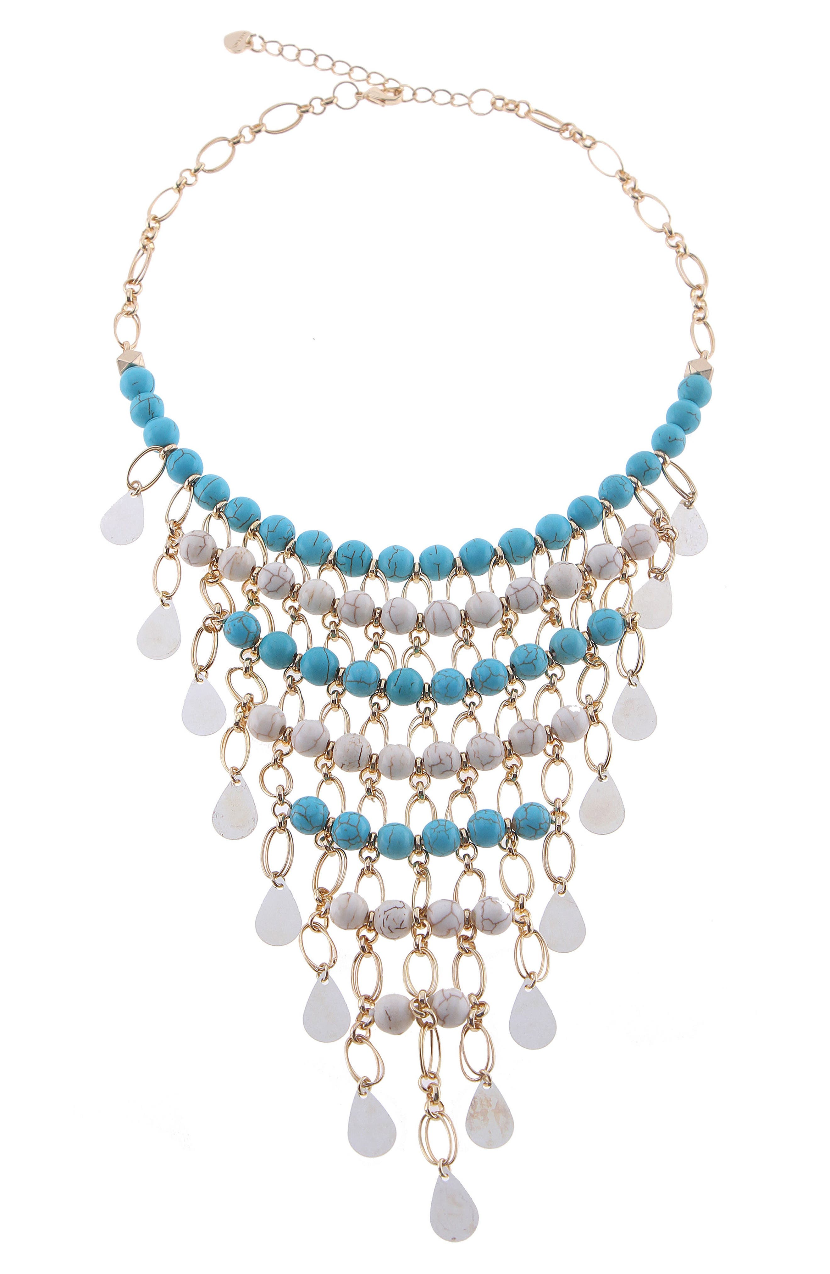 Crystal & Agate Beaded Bib Necklace,                         Main,                         color, Turquoise