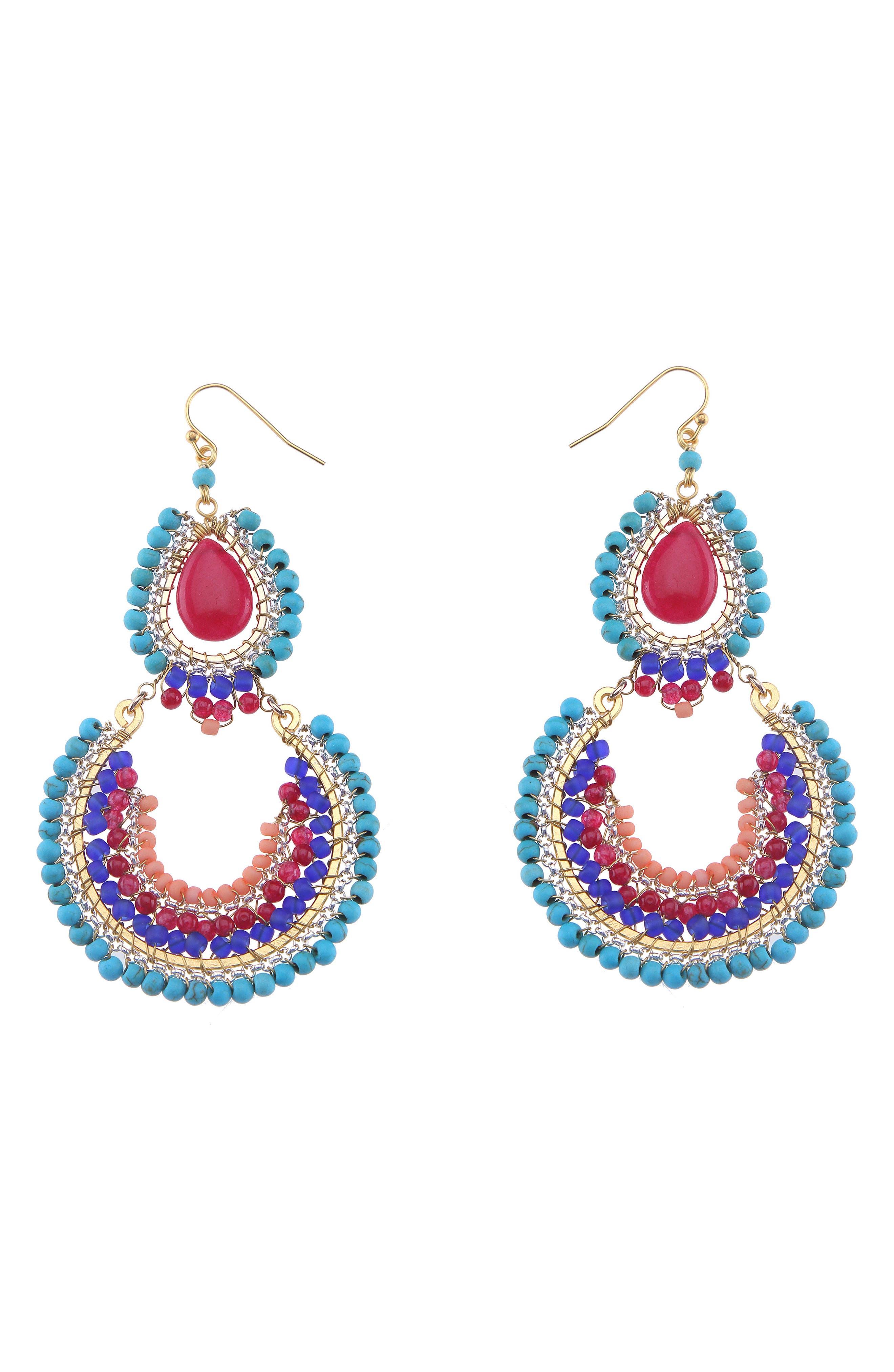 Nakamol Design Magnesite & Agate Statement Earrings