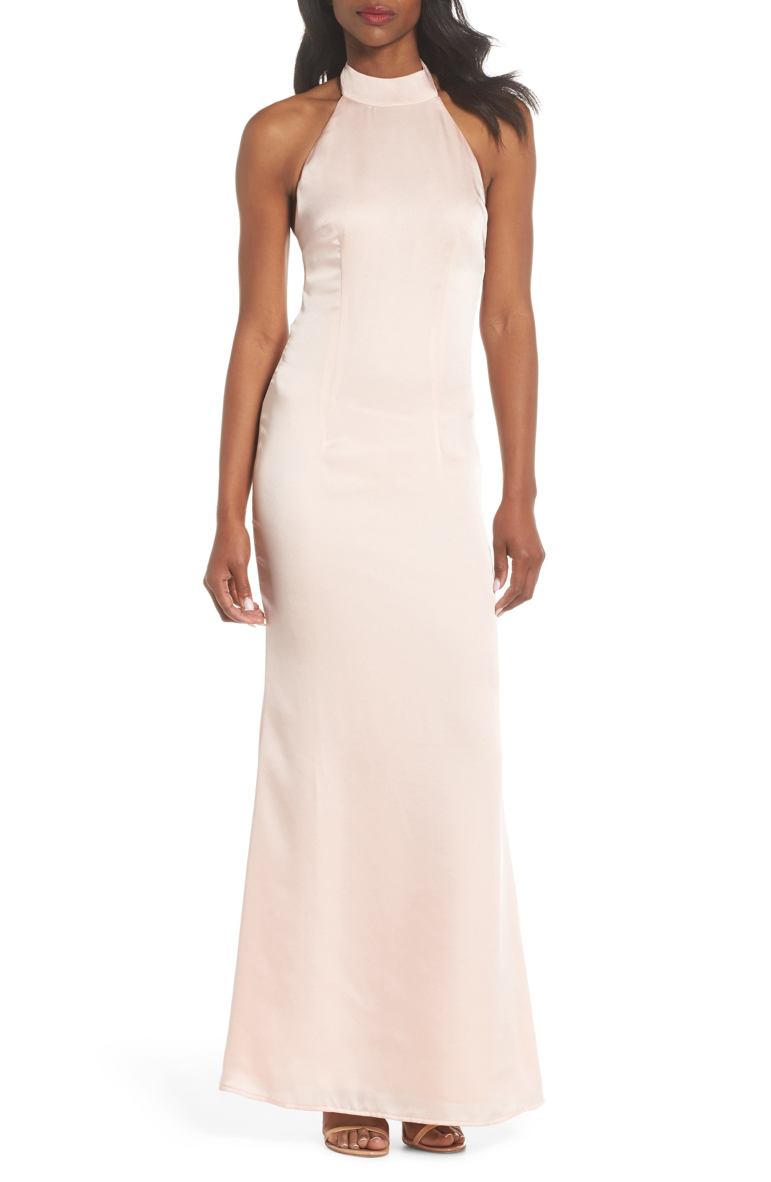 Tenny Halter Column Gown,                         Main,                         color, Pink