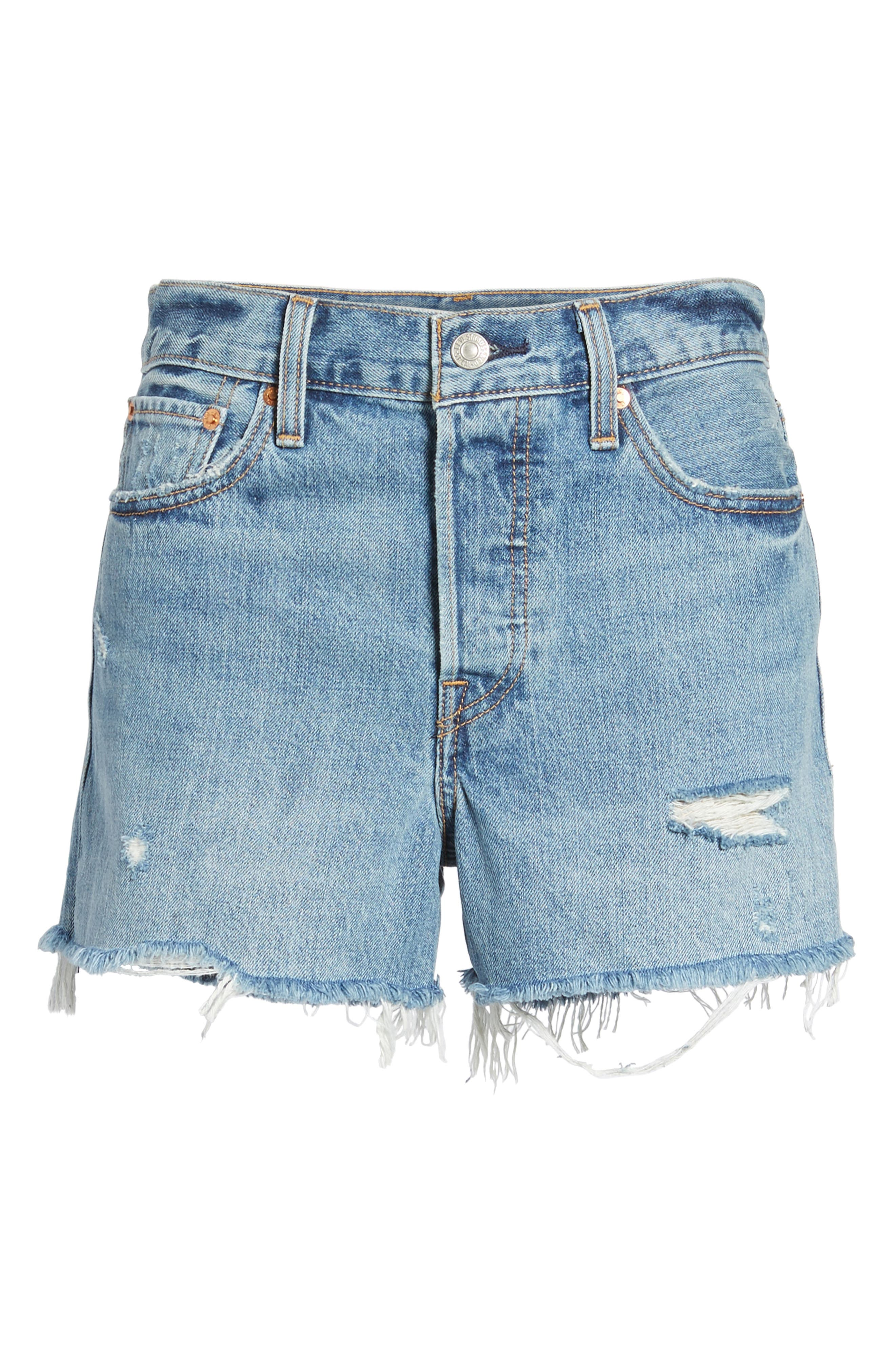 Wedgie High Waist Cutoff Denim Shorts,                             Alternate thumbnail 6, color,                             Blue Your Mind