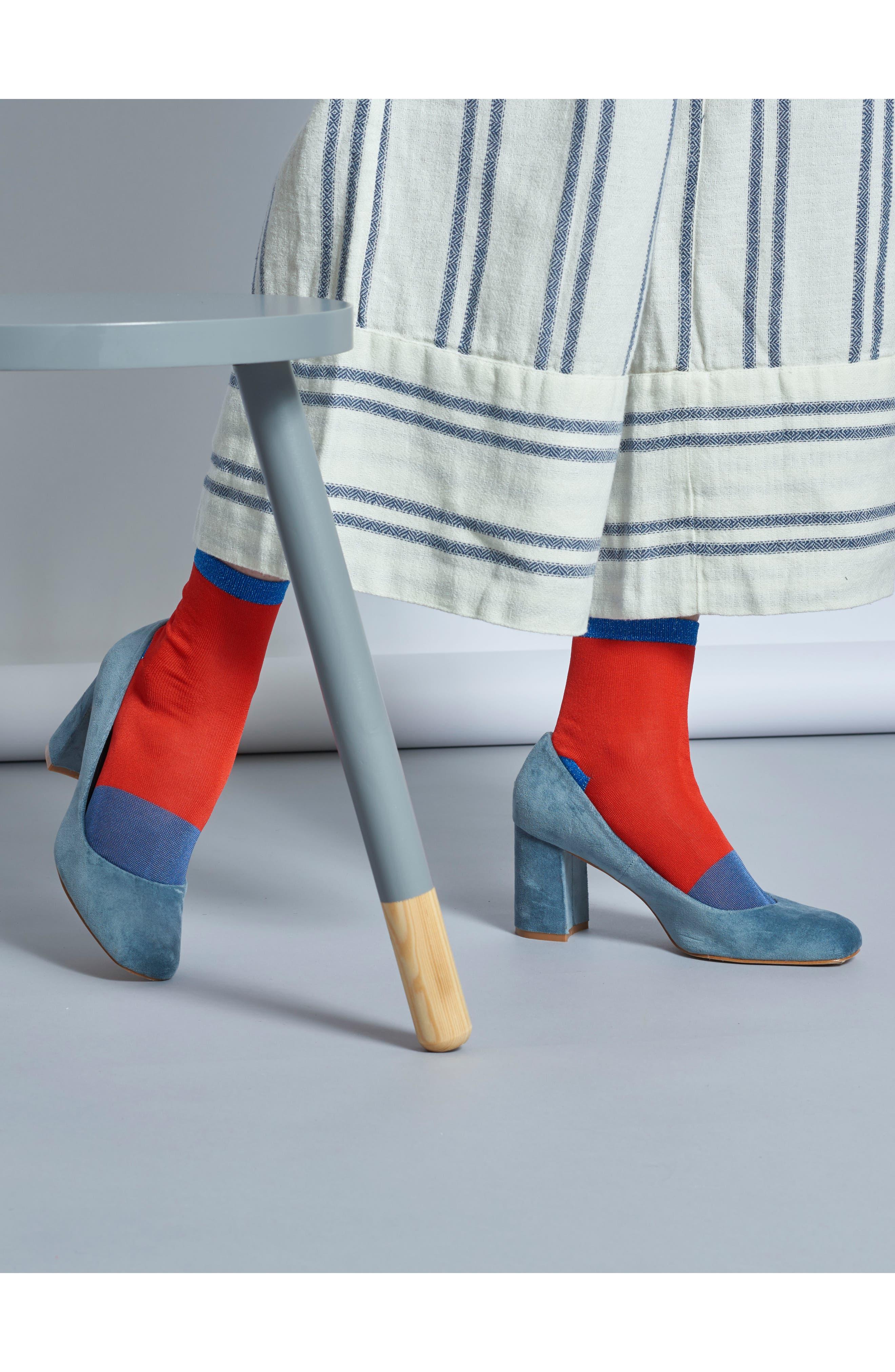 Liza Sparkle Ankle Socks,                             Alternate thumbnail 4, color,                             Red