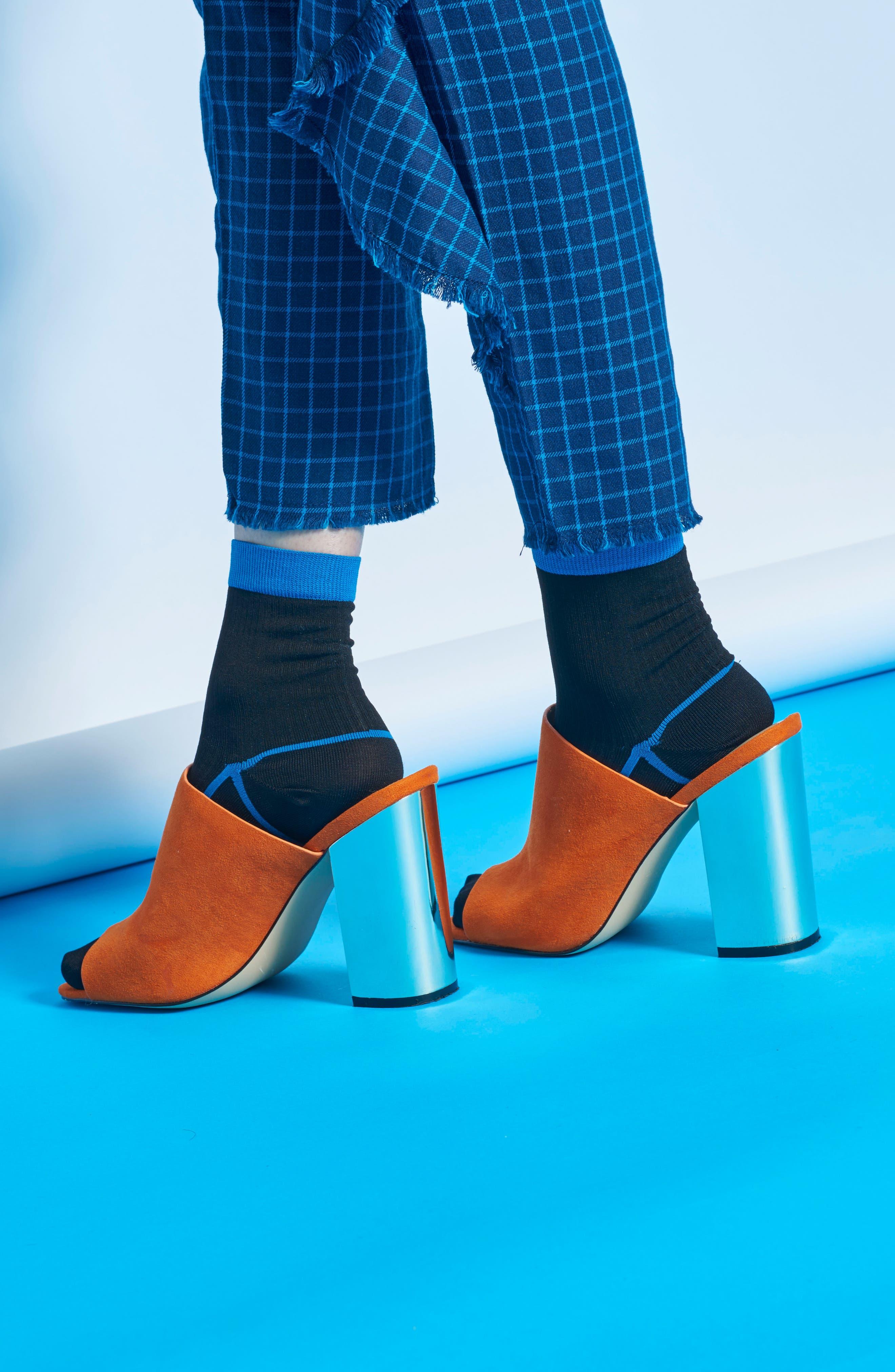 Lily Rib Ankle Socks,                             Alternate thumbnail 4, color,                             Black