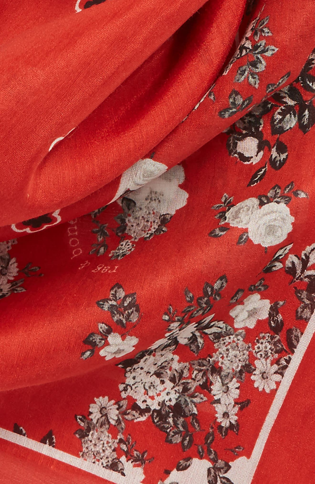 Garden Floral Bandana,                             Alternate thumbnail 3, color,                             Red Multi