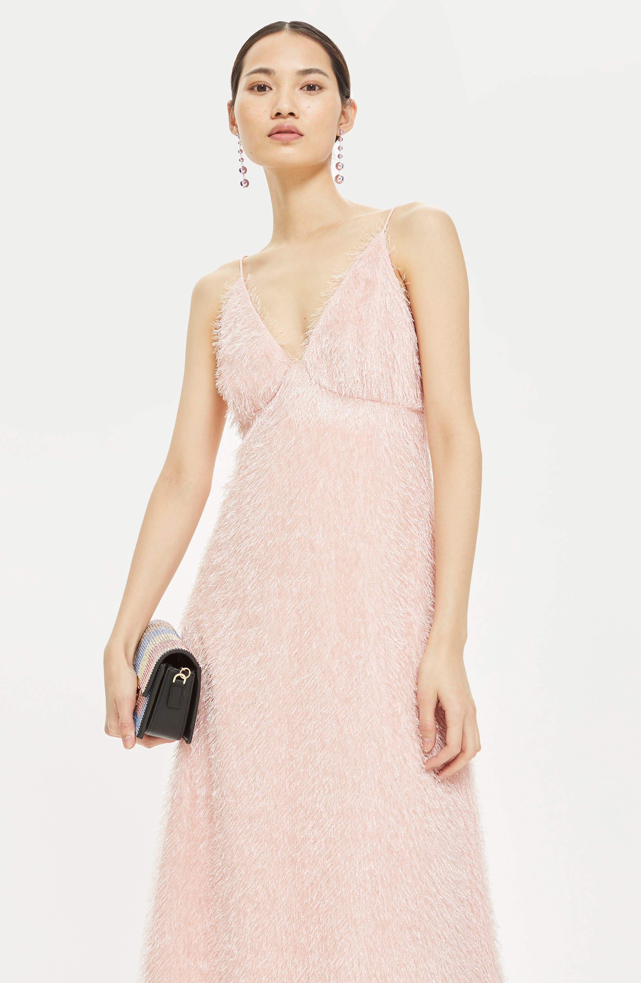 Feather Strappy Midi Dress,                             Alternate thumbnail 2, color,                             Blush