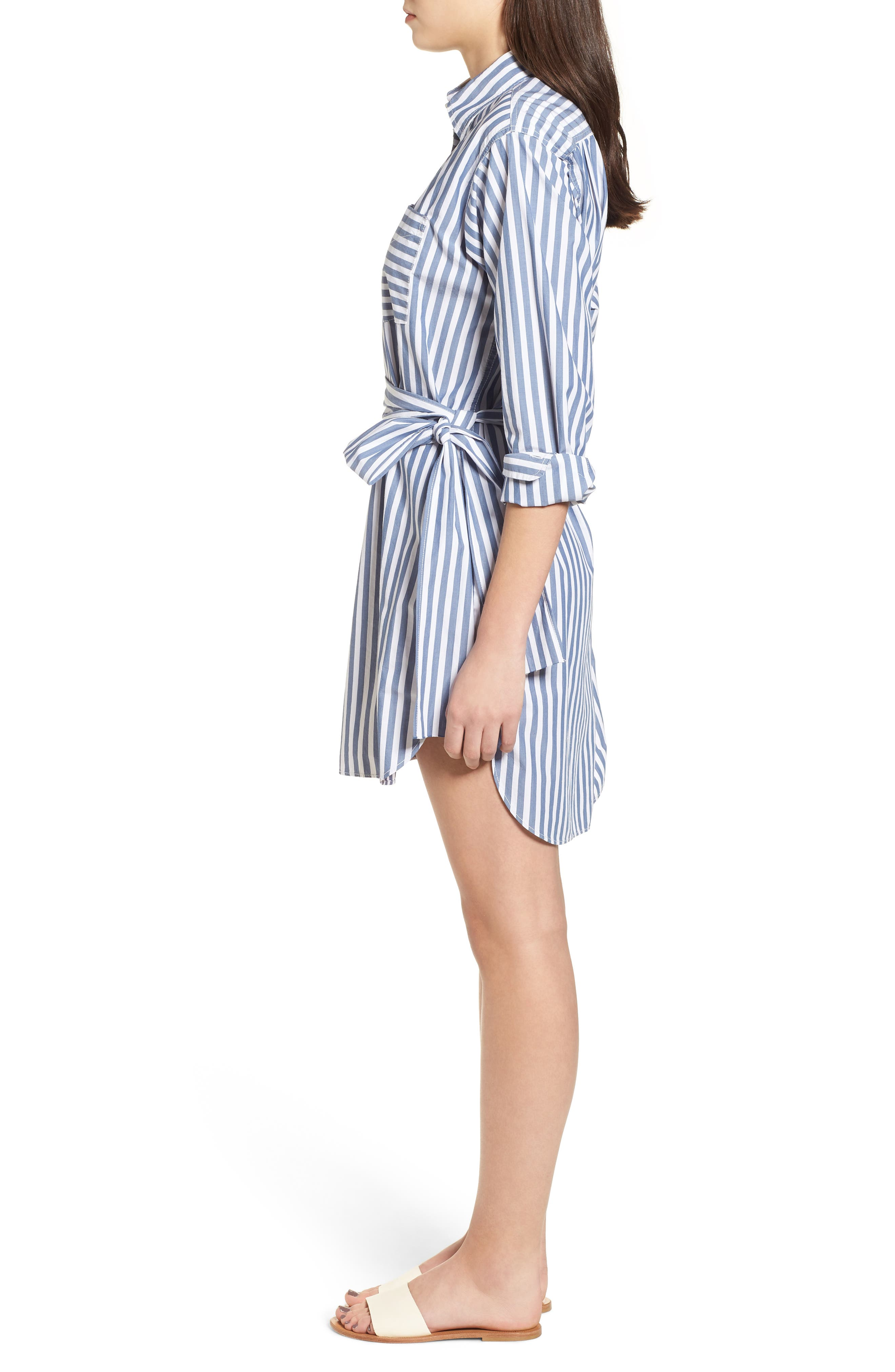 The Alda Stripe Belted Shirtdress,                             Alternate thumbnail 3, color,                             Blue Lagoon Stripe