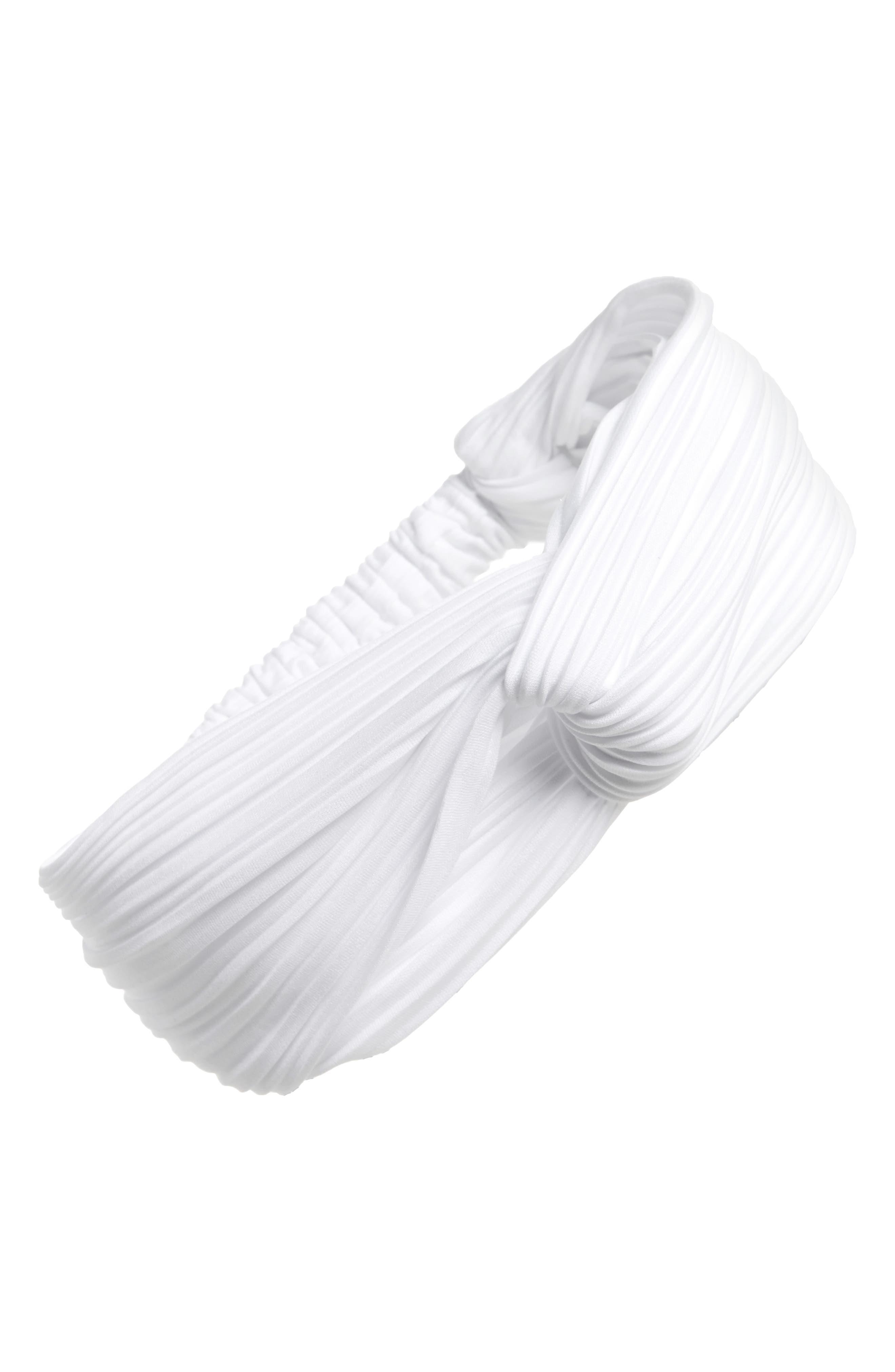 Pleated Turban Head Wrap,                             Main thumbnail 1, color,                             White