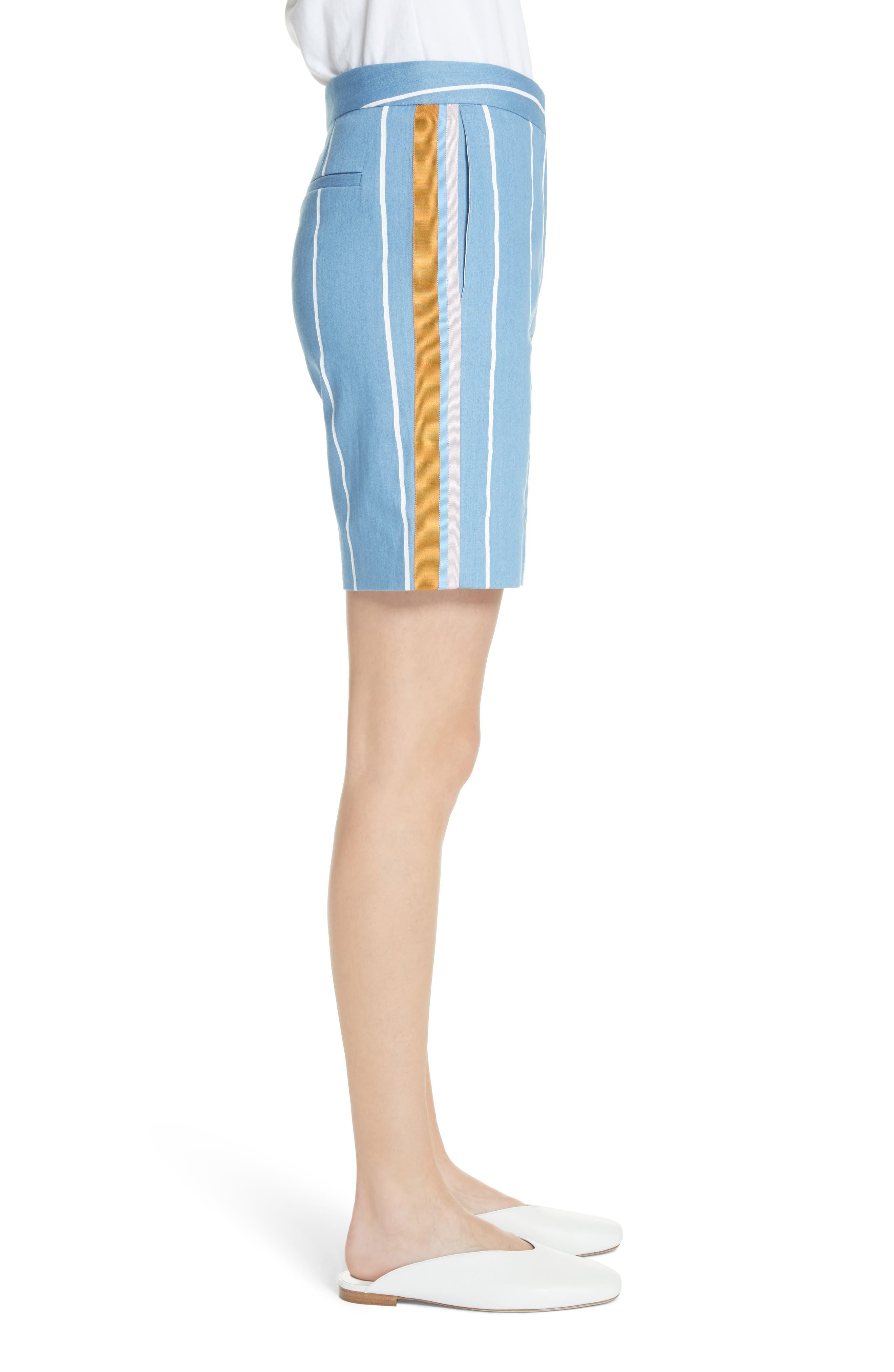 Stripe Slim Shorts,                             Alternate thumbnail 3, color,                             White Stripe
