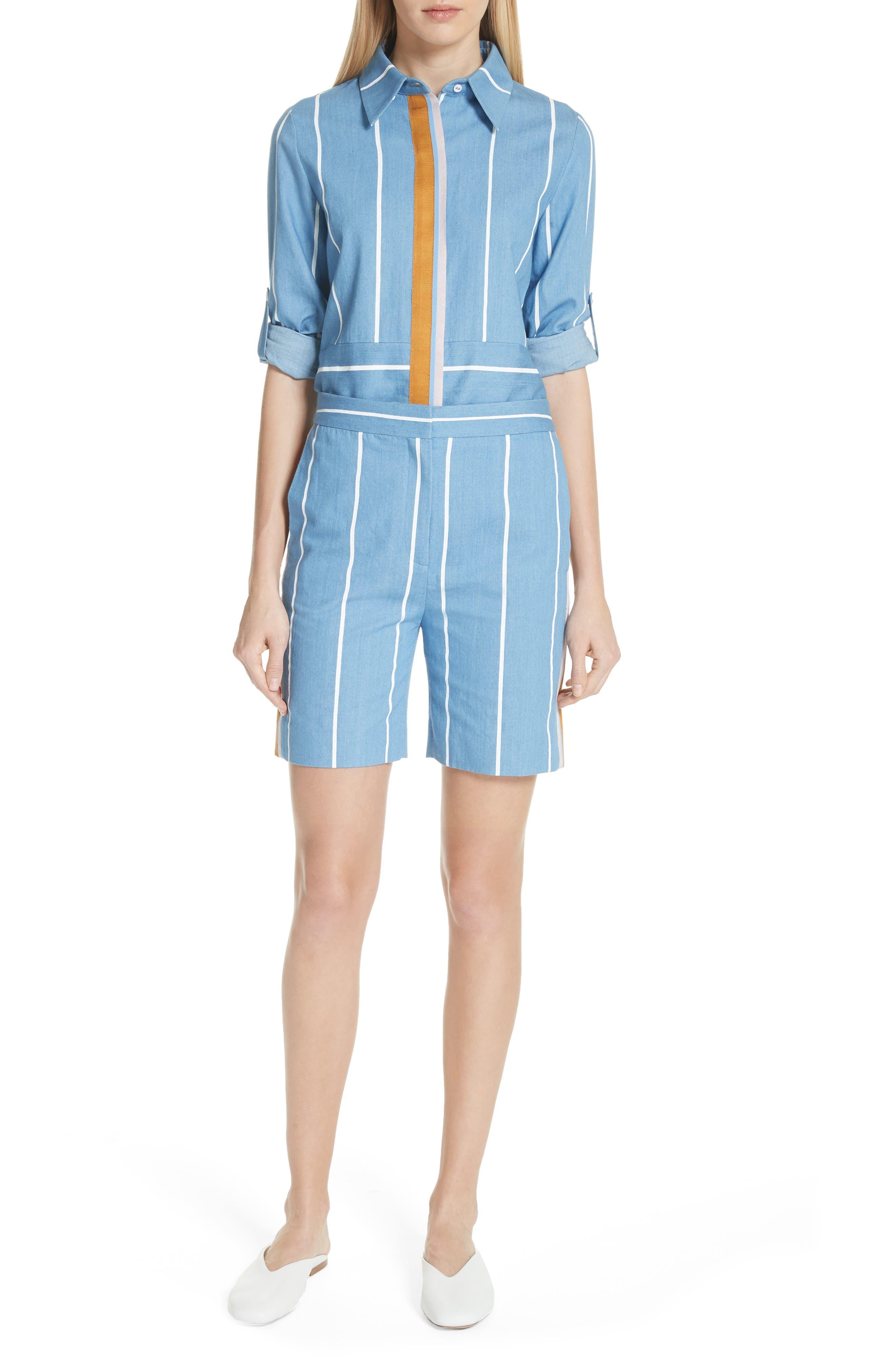 Stripe Slim Shorts,                             Alternate thumbnail 8, color,                             White Stripe