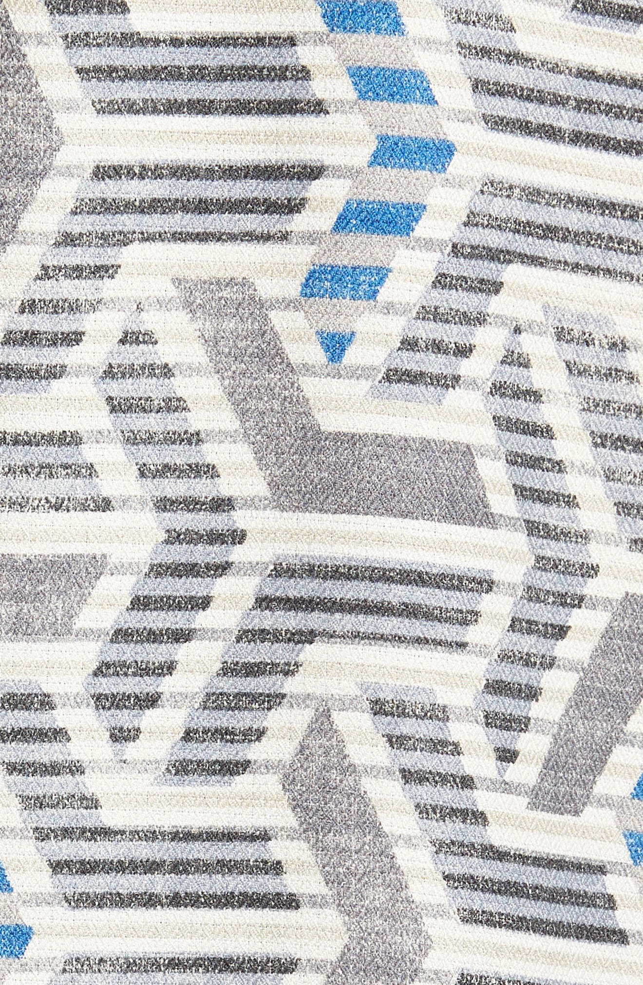 Wellington Geometric Silk Blend Camp Shirt,                             Alternate thumbnail 5, color,                             Fog Grey
