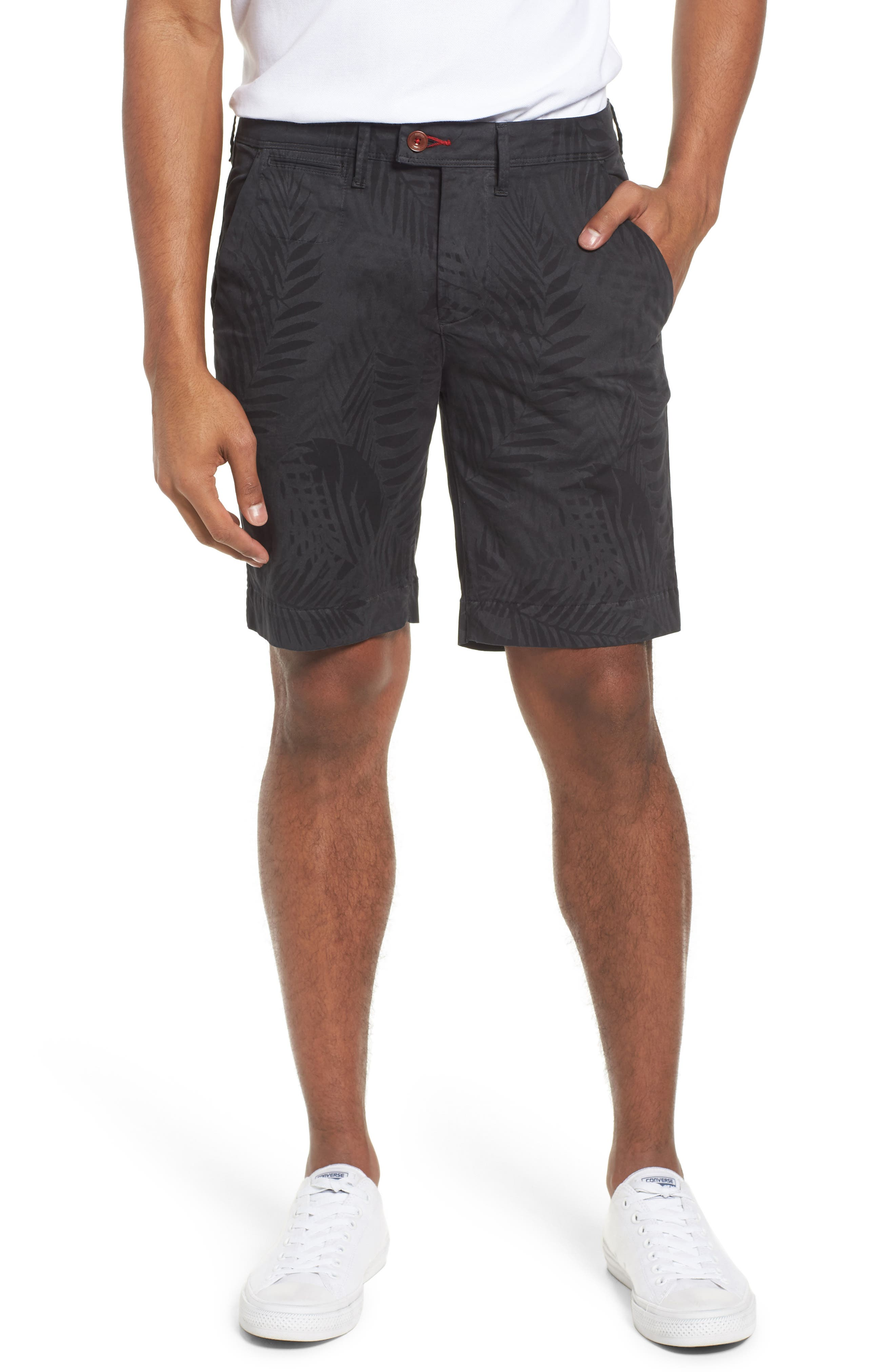 Psycho Bunny Tropical Shorts,                         Main,                         color, Black